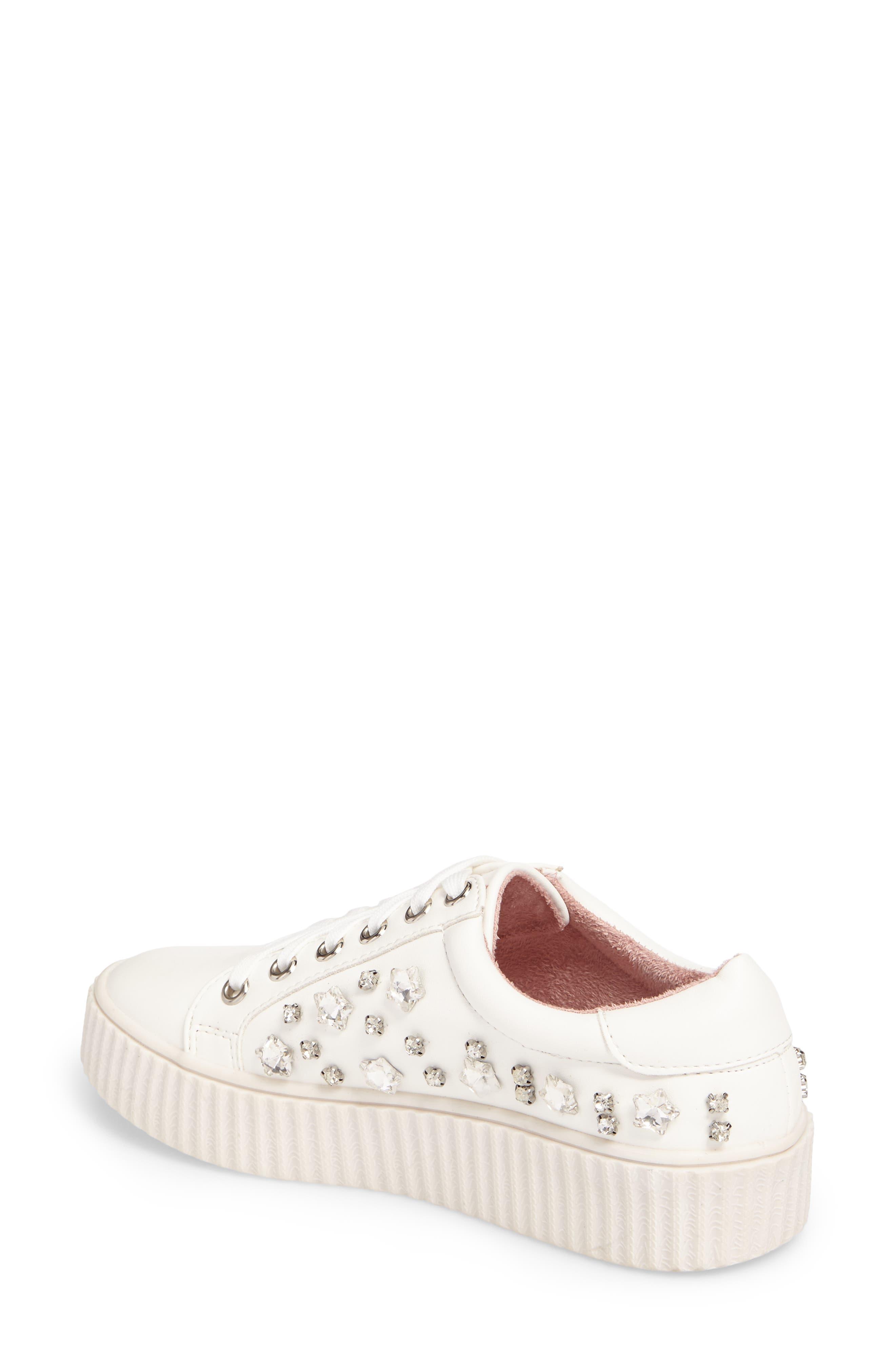 Pam Embellished Platform Sneaker,                             Alternate thumbnail 2, color,                             White