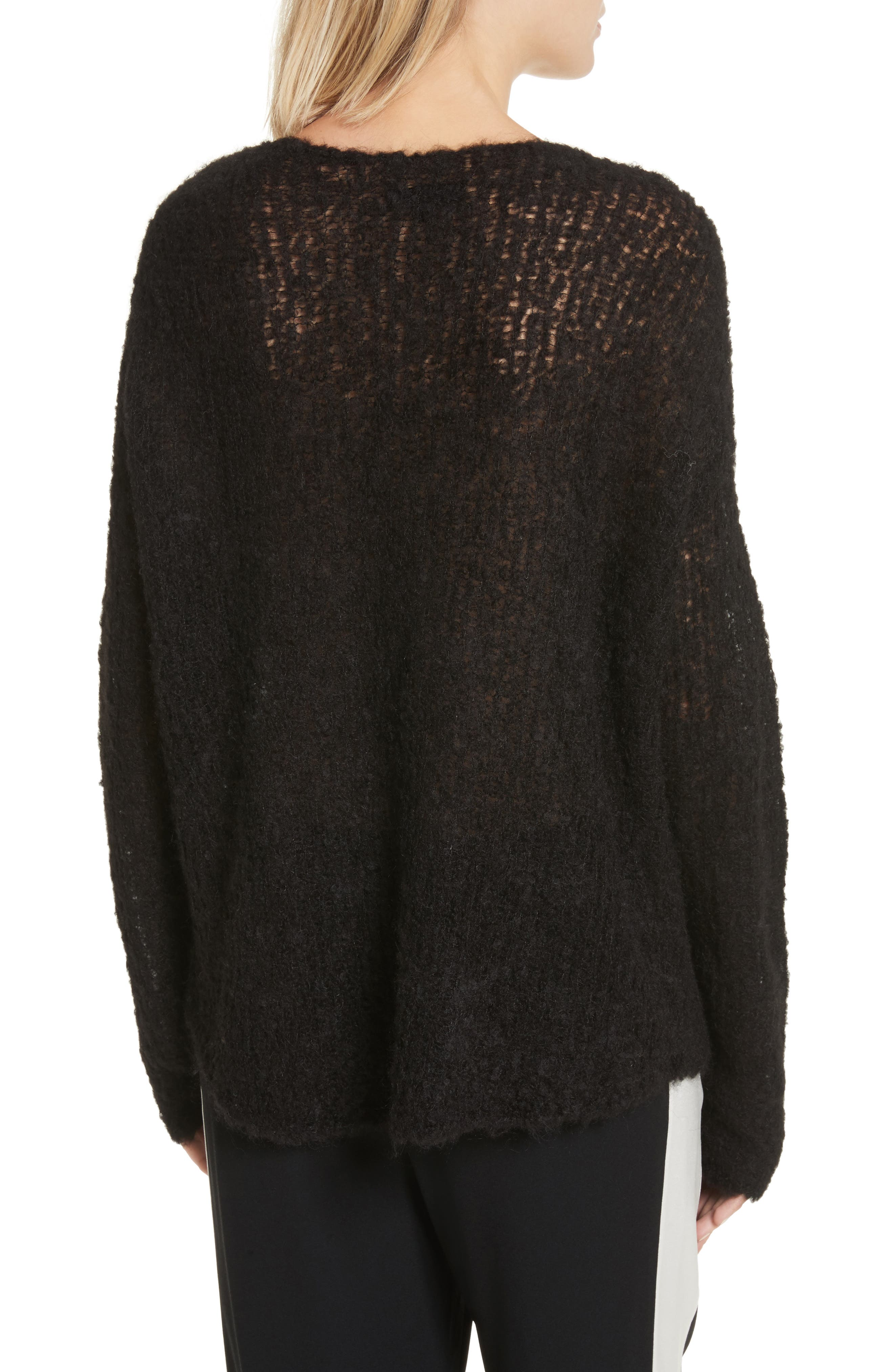 Freda Alpaca Blend Sweater,                             Alternate thumbnail 2, color,                             Black