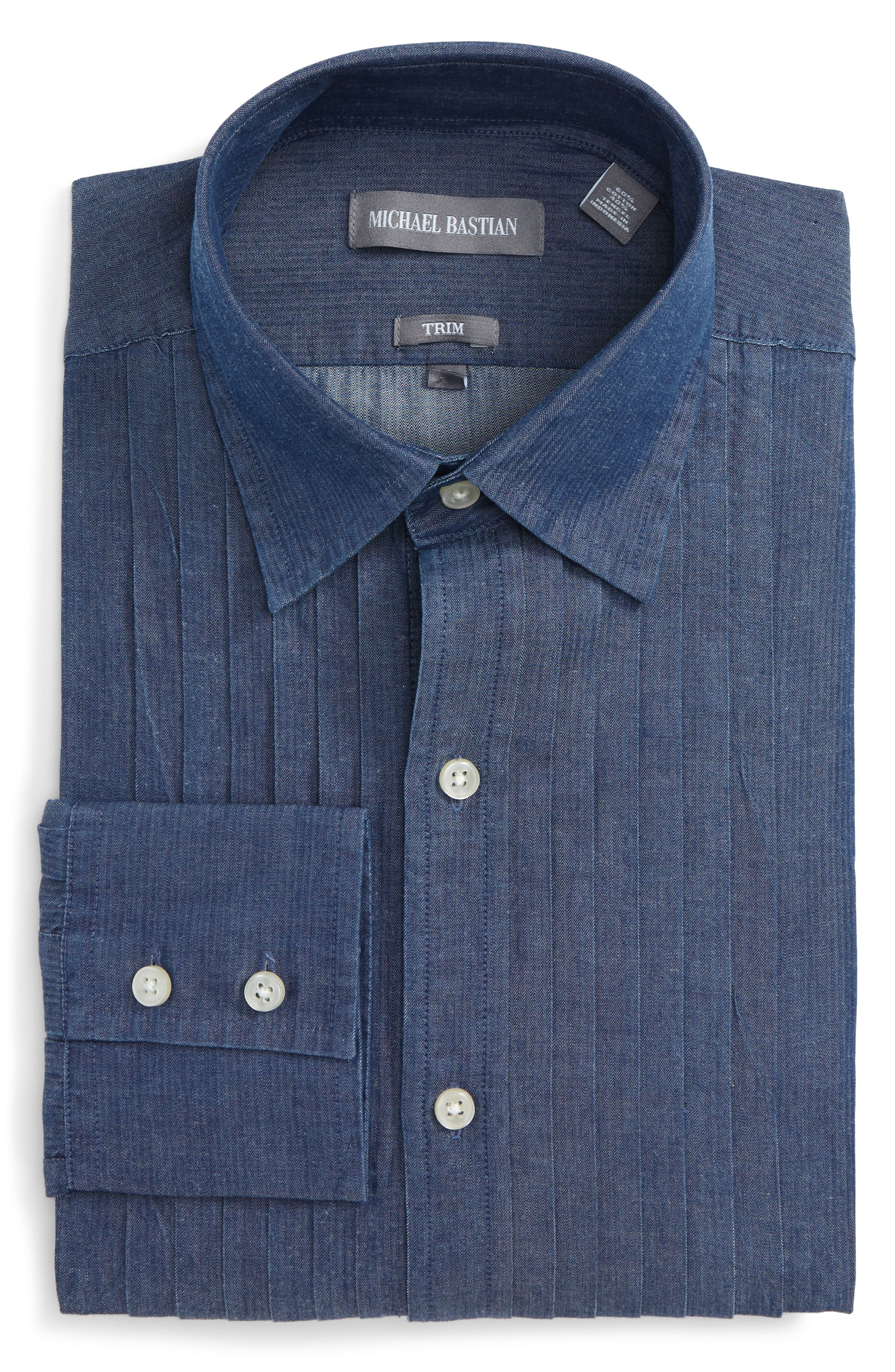 Trim Fit Denim Dress Shirt,                             Main thumbnail 1, color,                             Denim