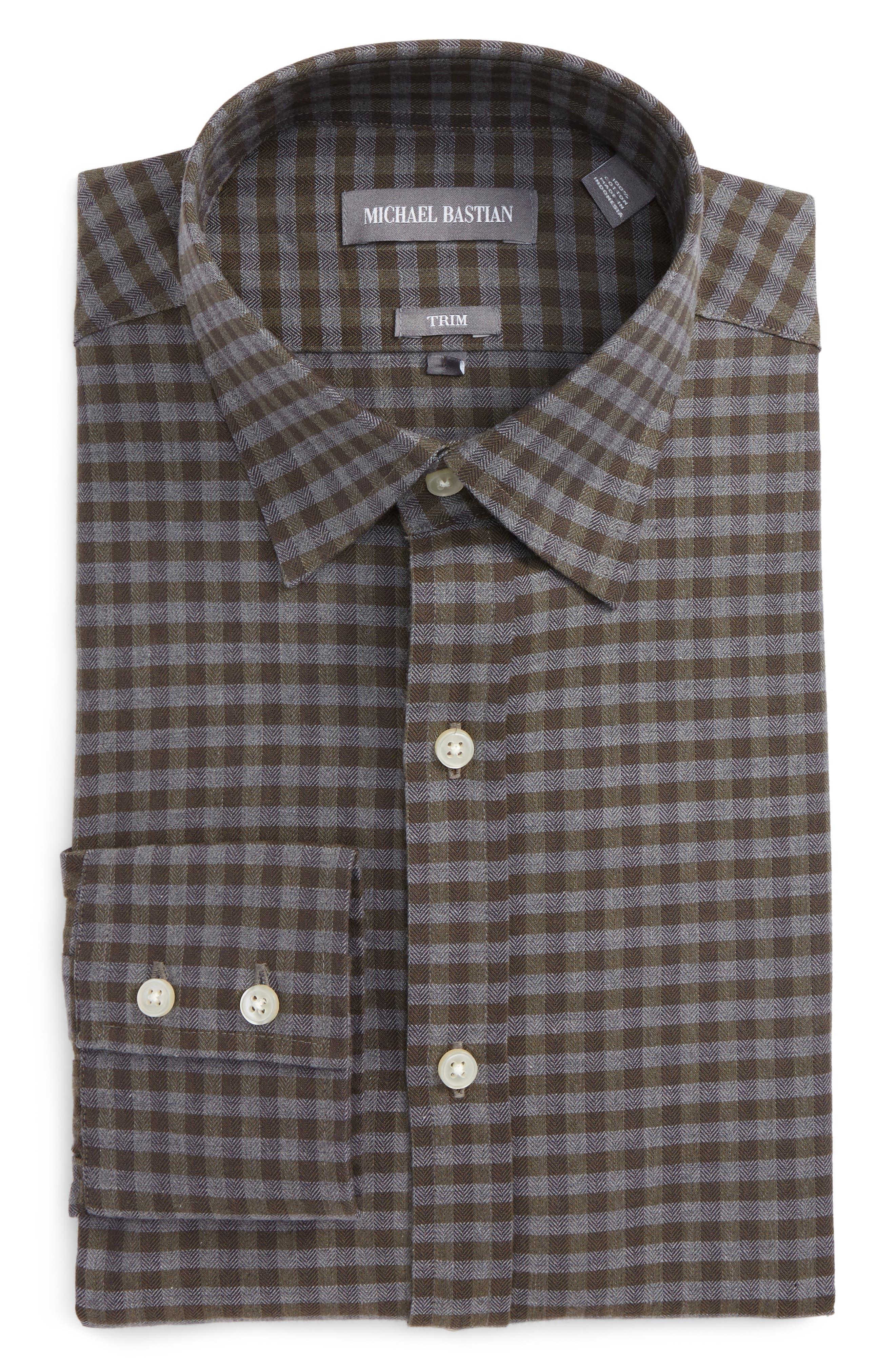 Trim Fit Check Dress Shirt,                         Main,                         color, Gold/ Blue
