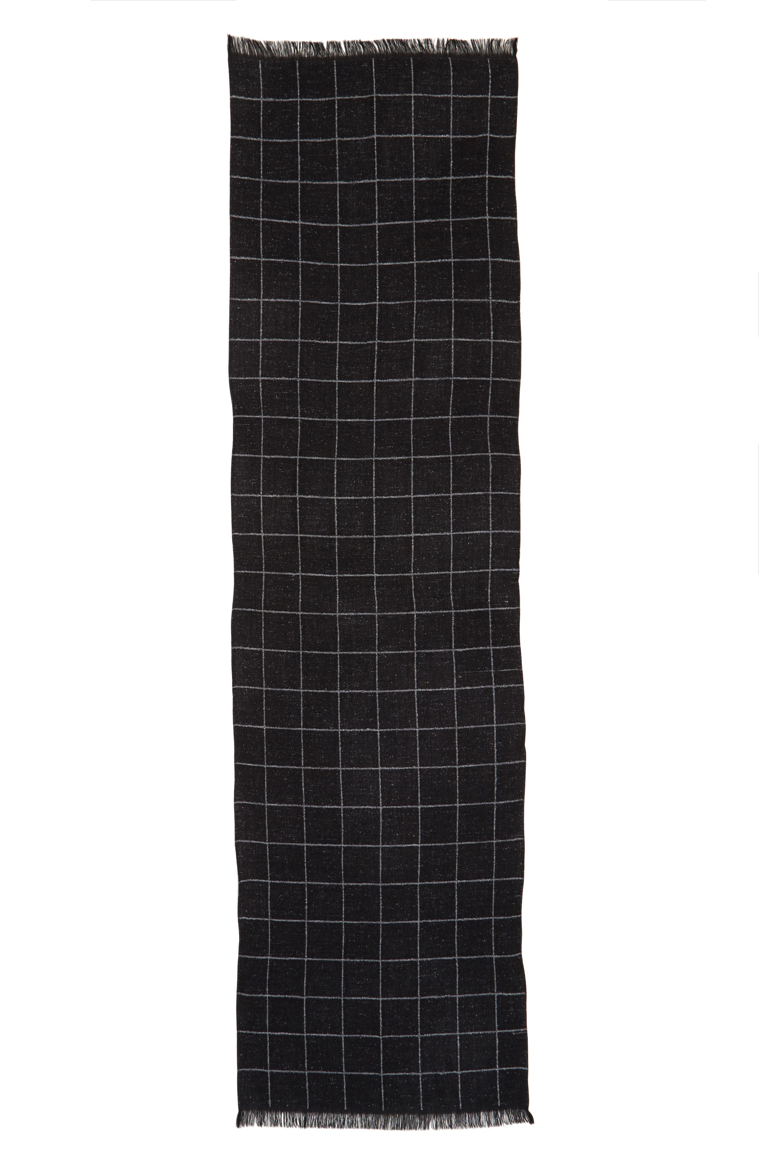 Windowpane Wool Blend Scarf,                             Alternate thumbnail 2, color,                             Black