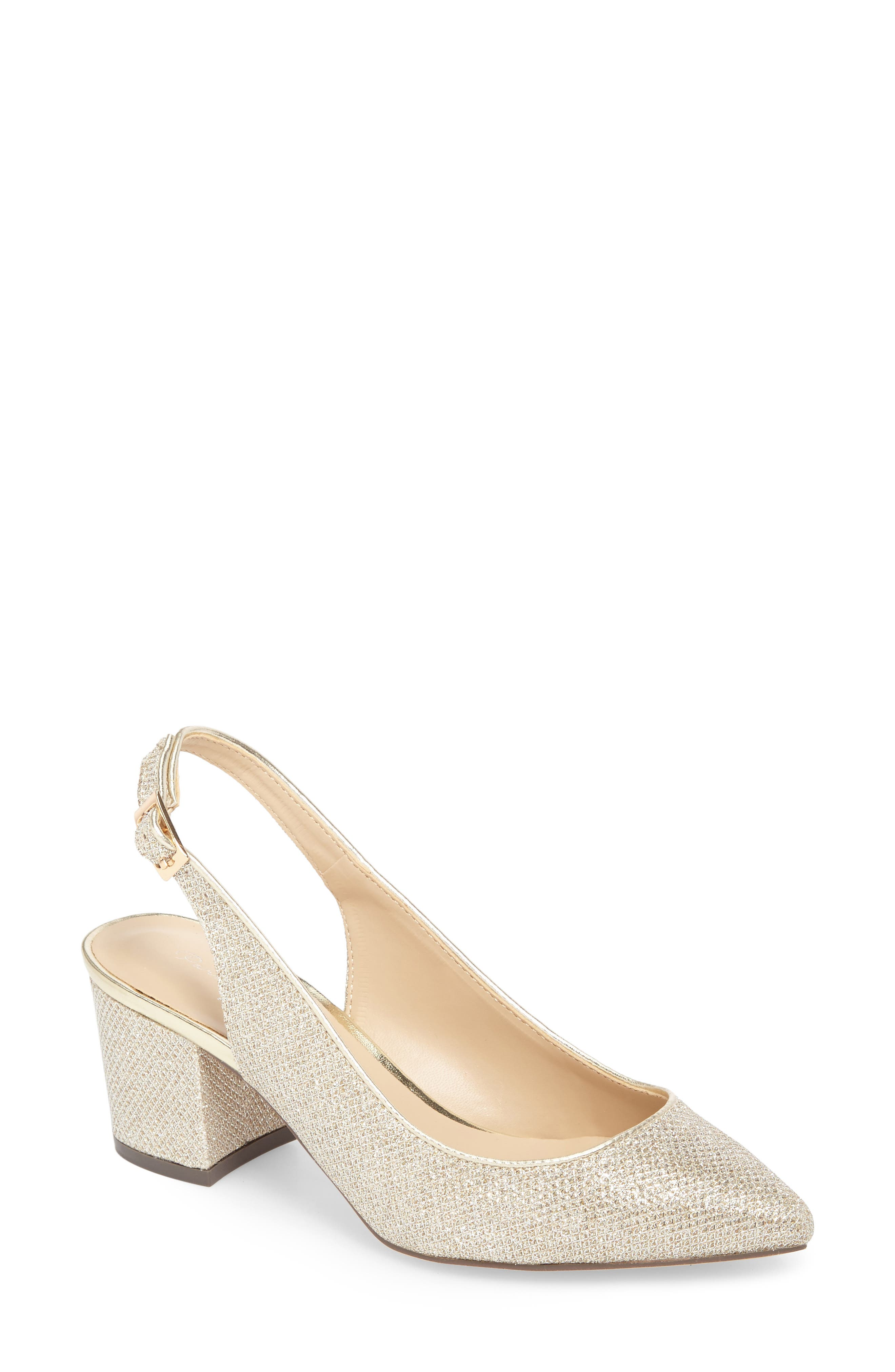 Aubree Slingback Pump,                             Main thumbnail 1, color,                             Champagne Glitter