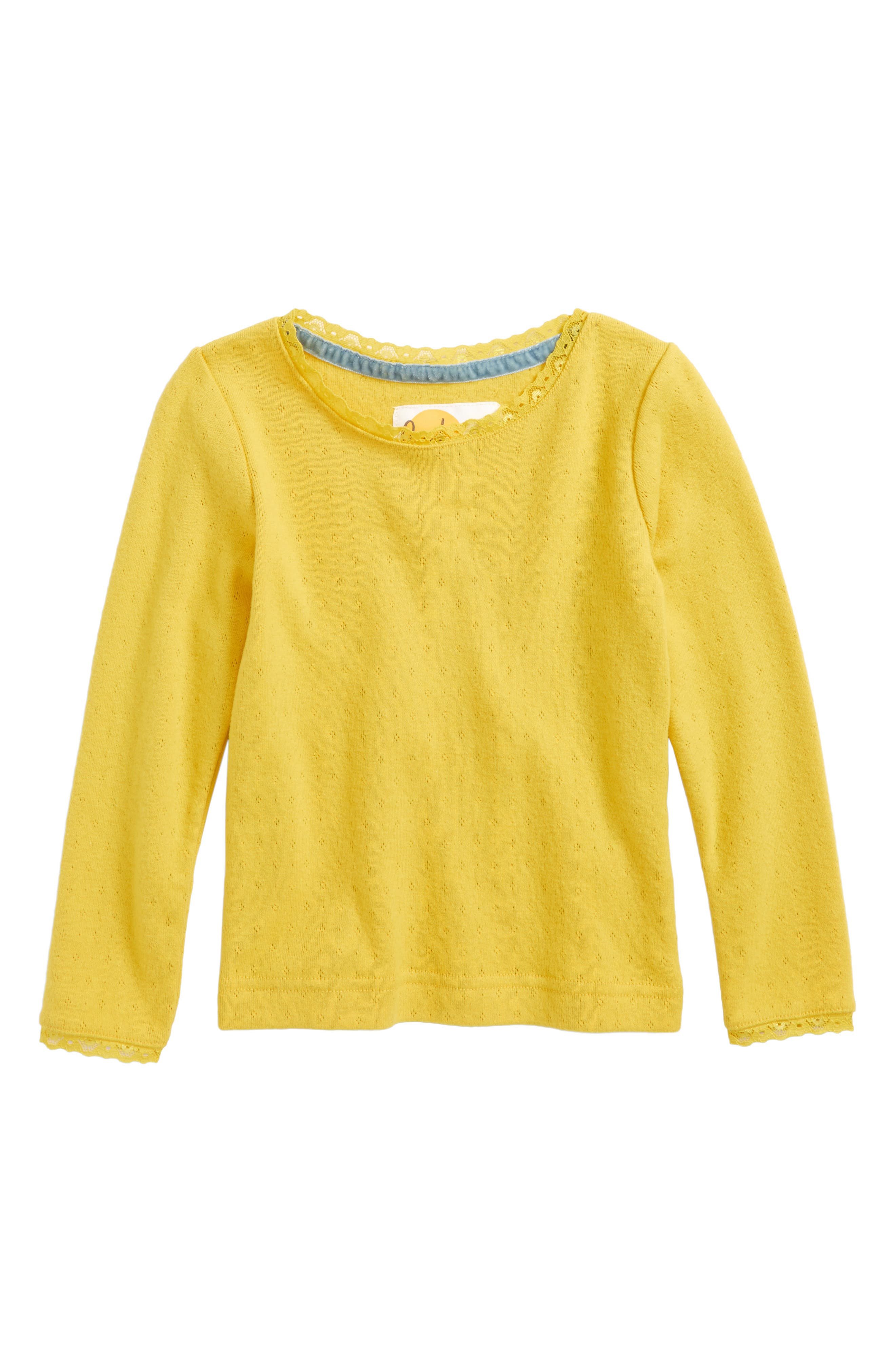 Soft Pointelle Tee,                         Main,                         color, Yellow Sweetcorn