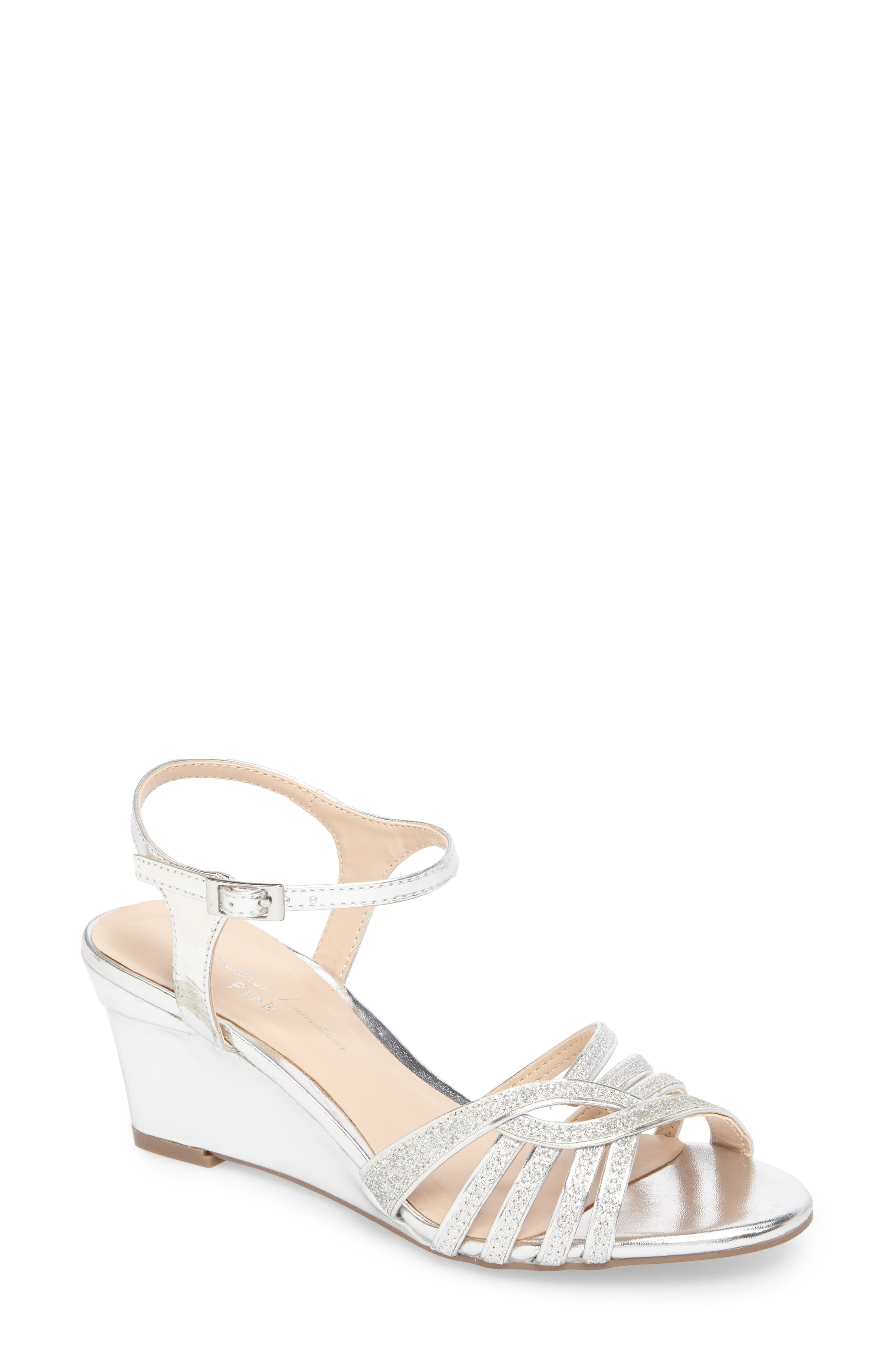 Karianne Wedge Sandal,                             Main thumbnail 1, color,                             Silver