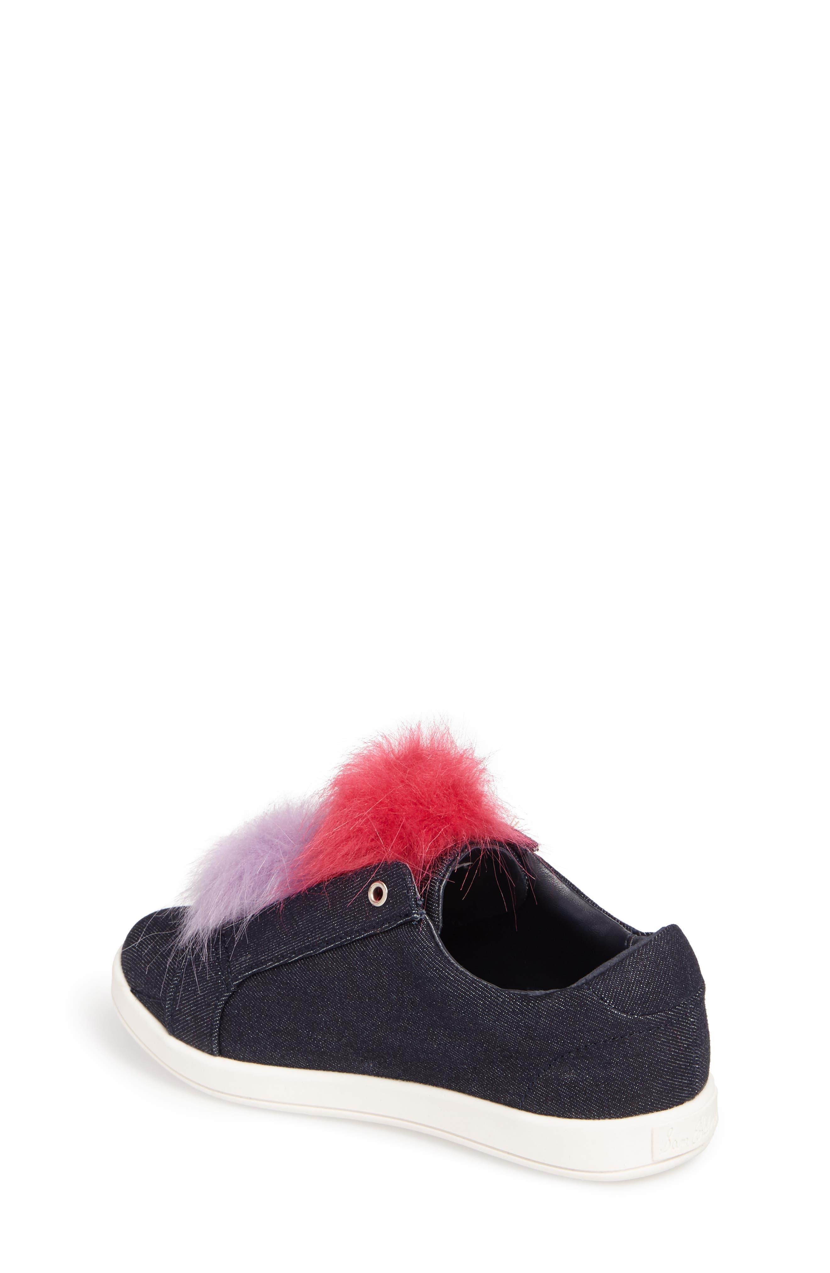 Cynthia Leya Faux Fur Pompom Slip-On Sneaker,                             Alternate thumbnail 2, color,                             Denim