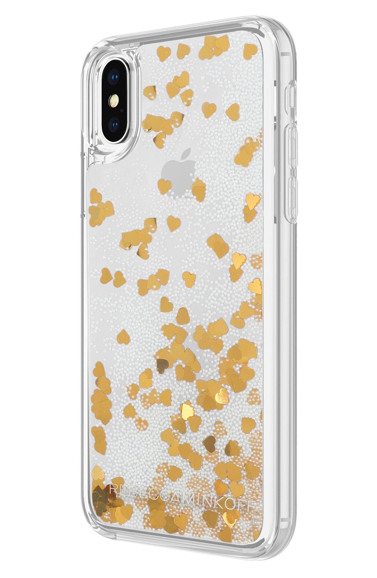 Glitterfall iPhone 8 Plus Case,                             Alternate thumbnail 4, color,                             Mini Pearls/ Heart Confetti