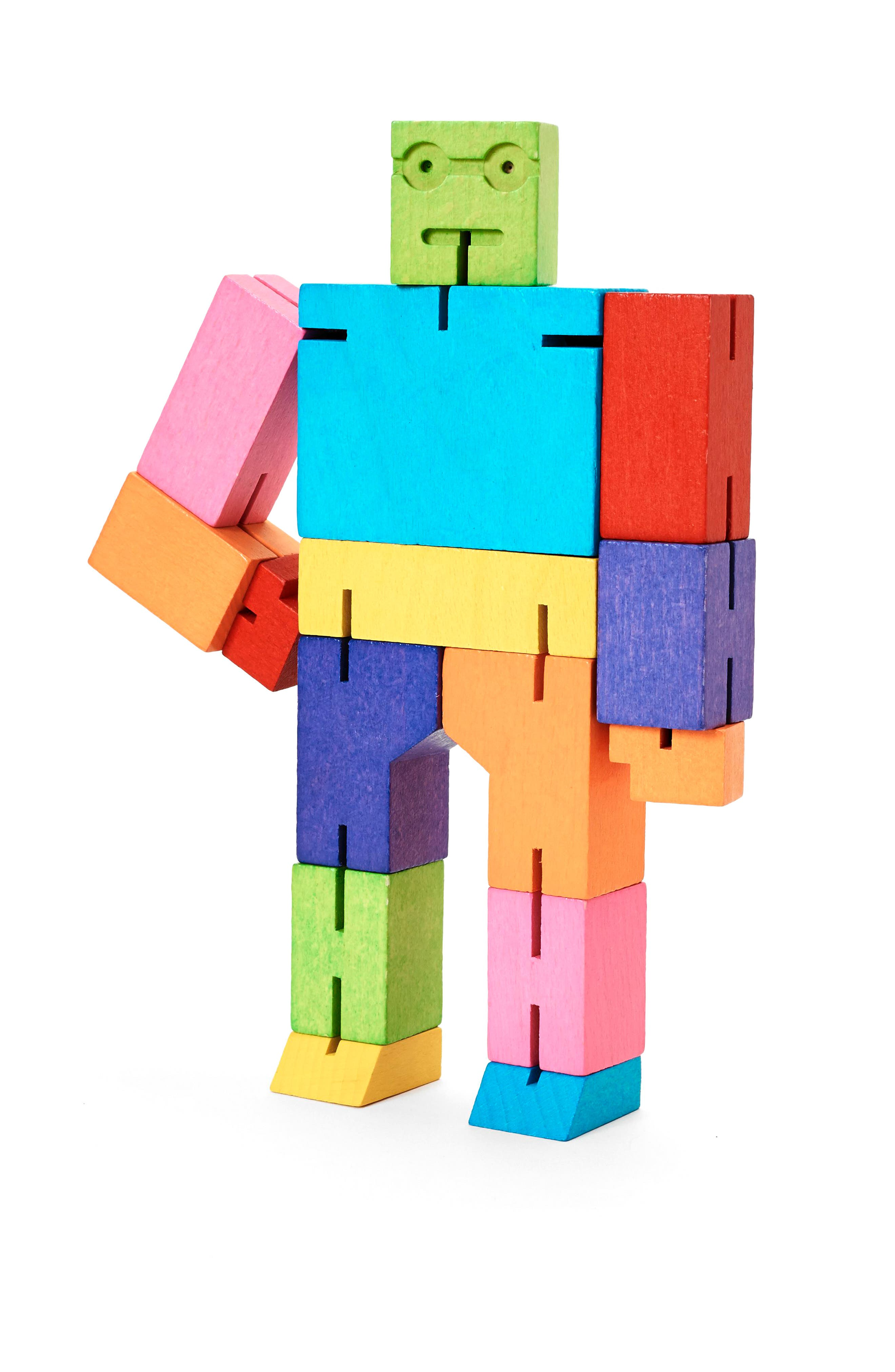 Cubebot Small Wooden Robot Toy,                         Main,                         color, Rainbow