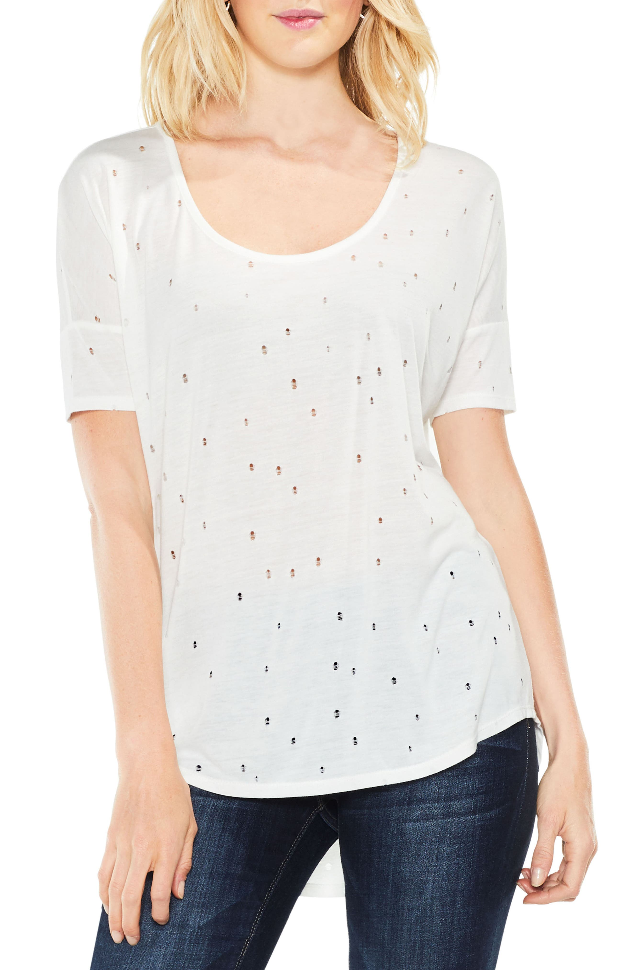 Distressed Jersey Top,                             Main thumbnail 1, color,                             Light Cream