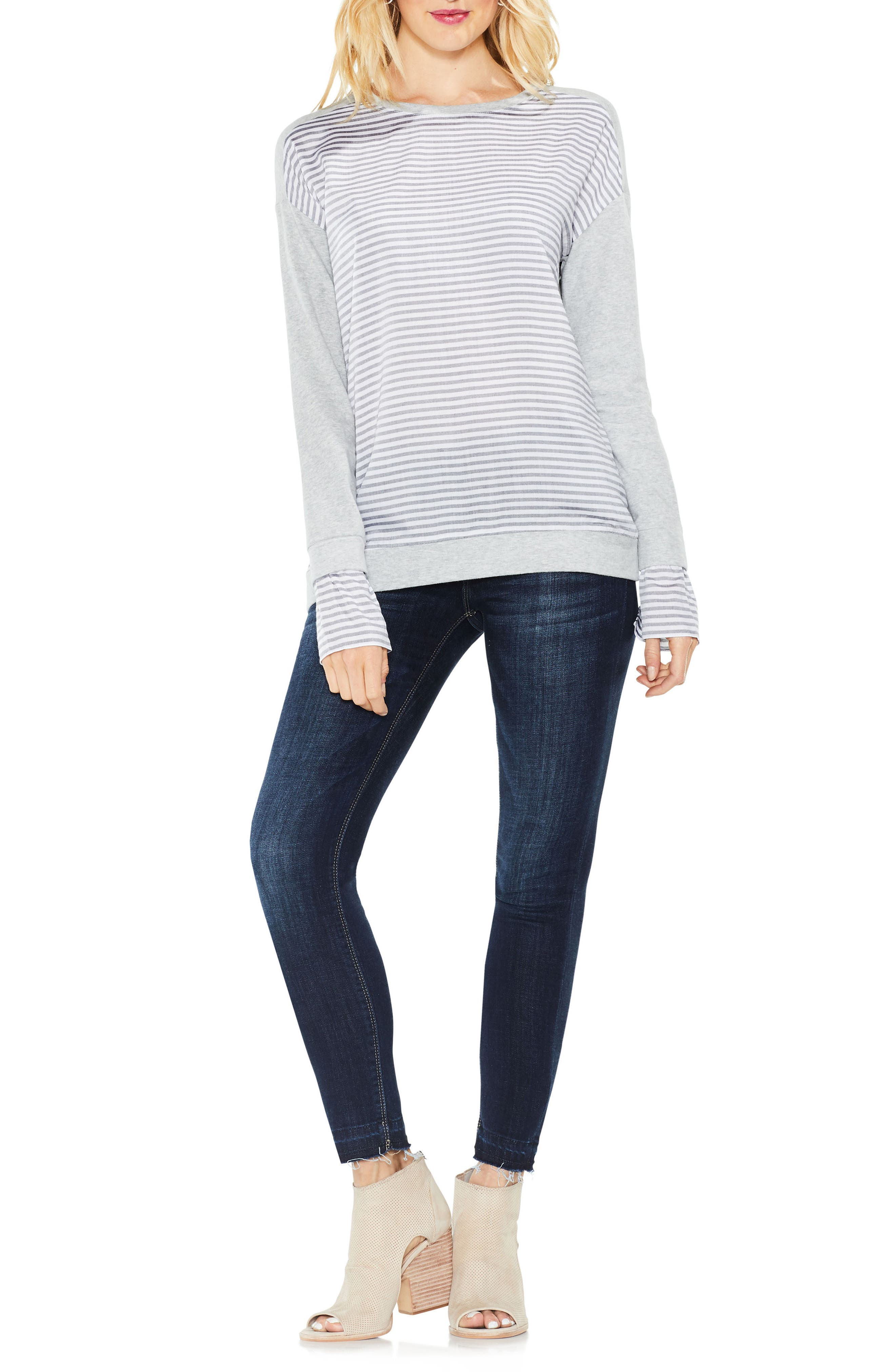 Stripe Cuff Frech Terry Pullover,                             Alternate thumbnail 3, color,                             Grey Heather