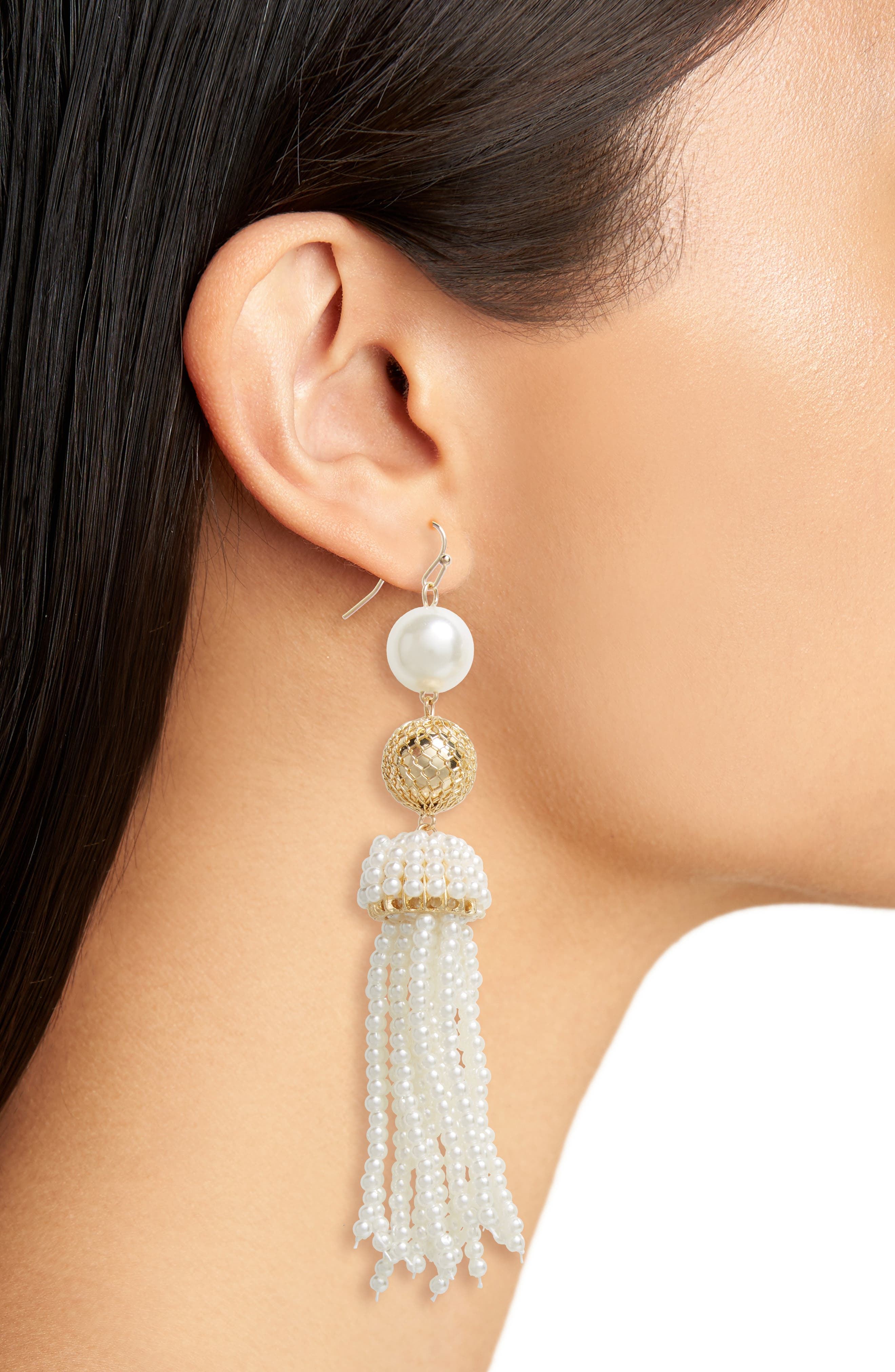 Imitation Pearl Beaded Tassel Earrings,                             Alternate thumbnail 2, color,                             Gold/ Pearl