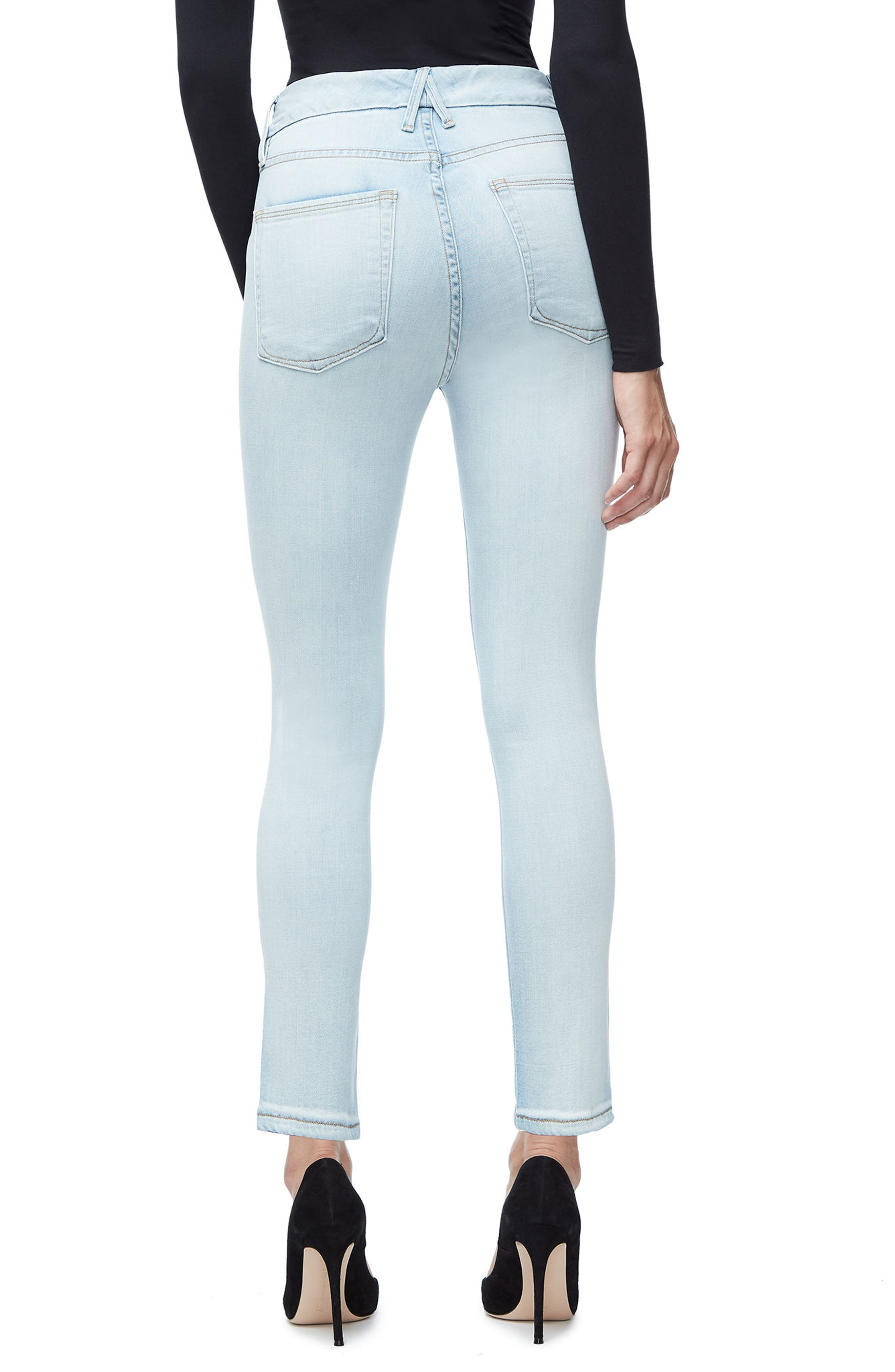 Alternate Image 2  - Good American Good Waist Skinny Jeans (Blue 116) (Regular & Plus Size)