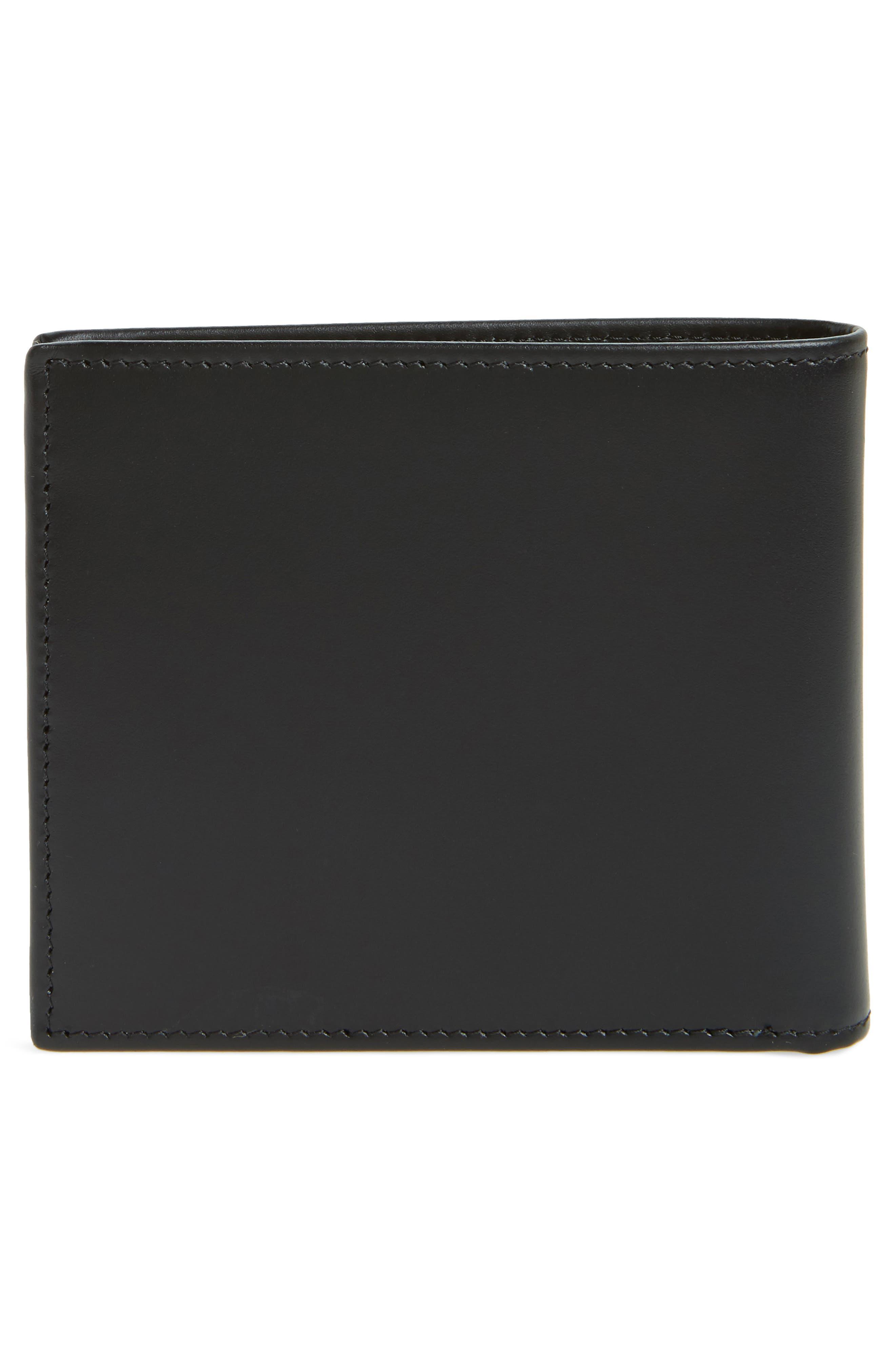 Multistripe Leather Bifold Wallet,                             Alternate thumbnail 3, color,                             Black