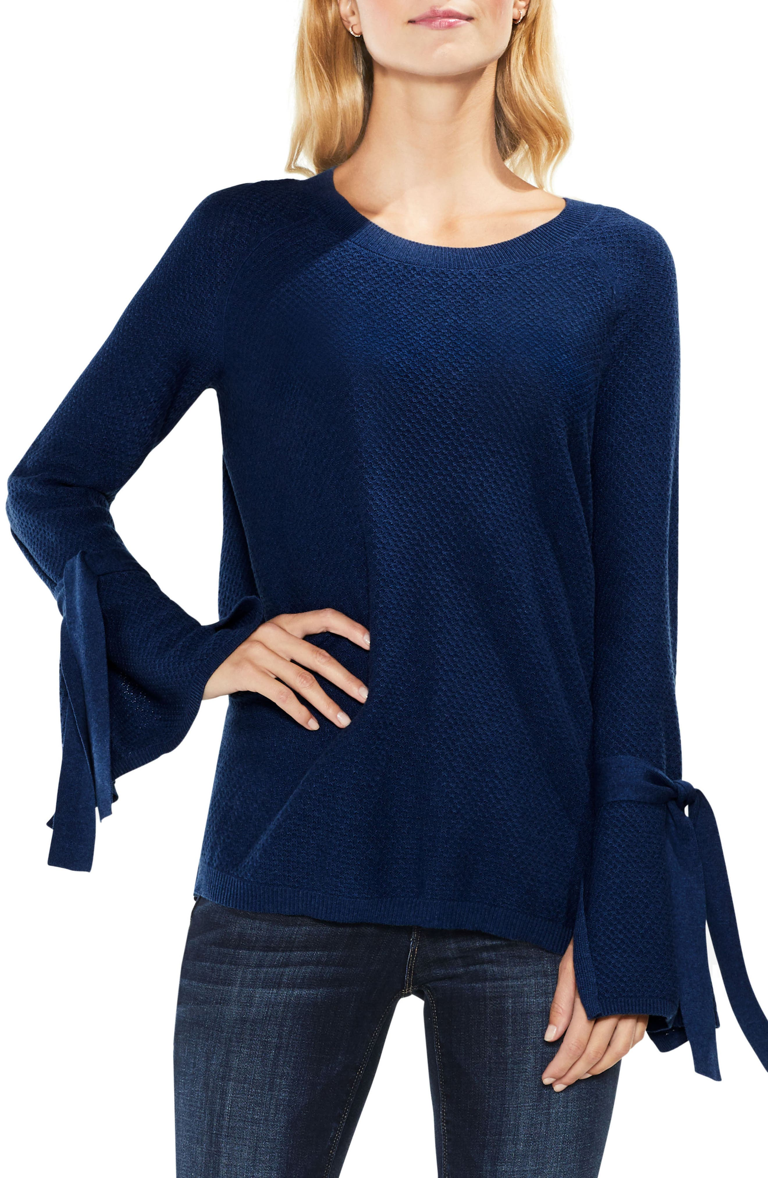 Alternate Image 1 Selected - Two by Vince Camuto Texture Stitch Tie-Sleeve Top (Regular & Petite)