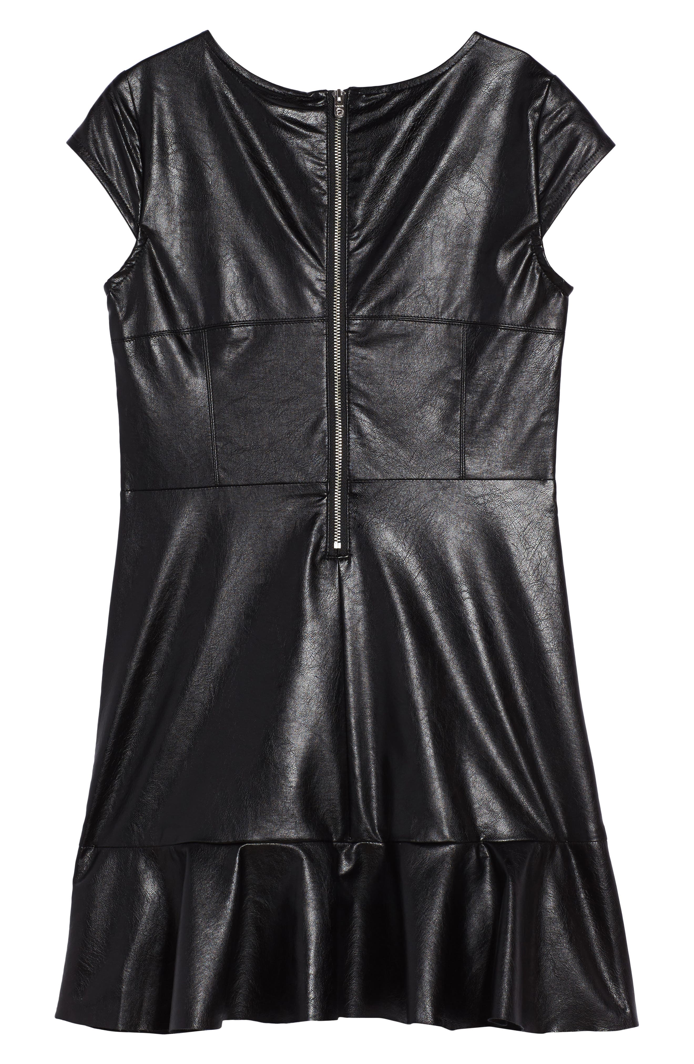 Embroidered Faux Leather Dress,                             Alternate thumbnail 2, color,                             Black