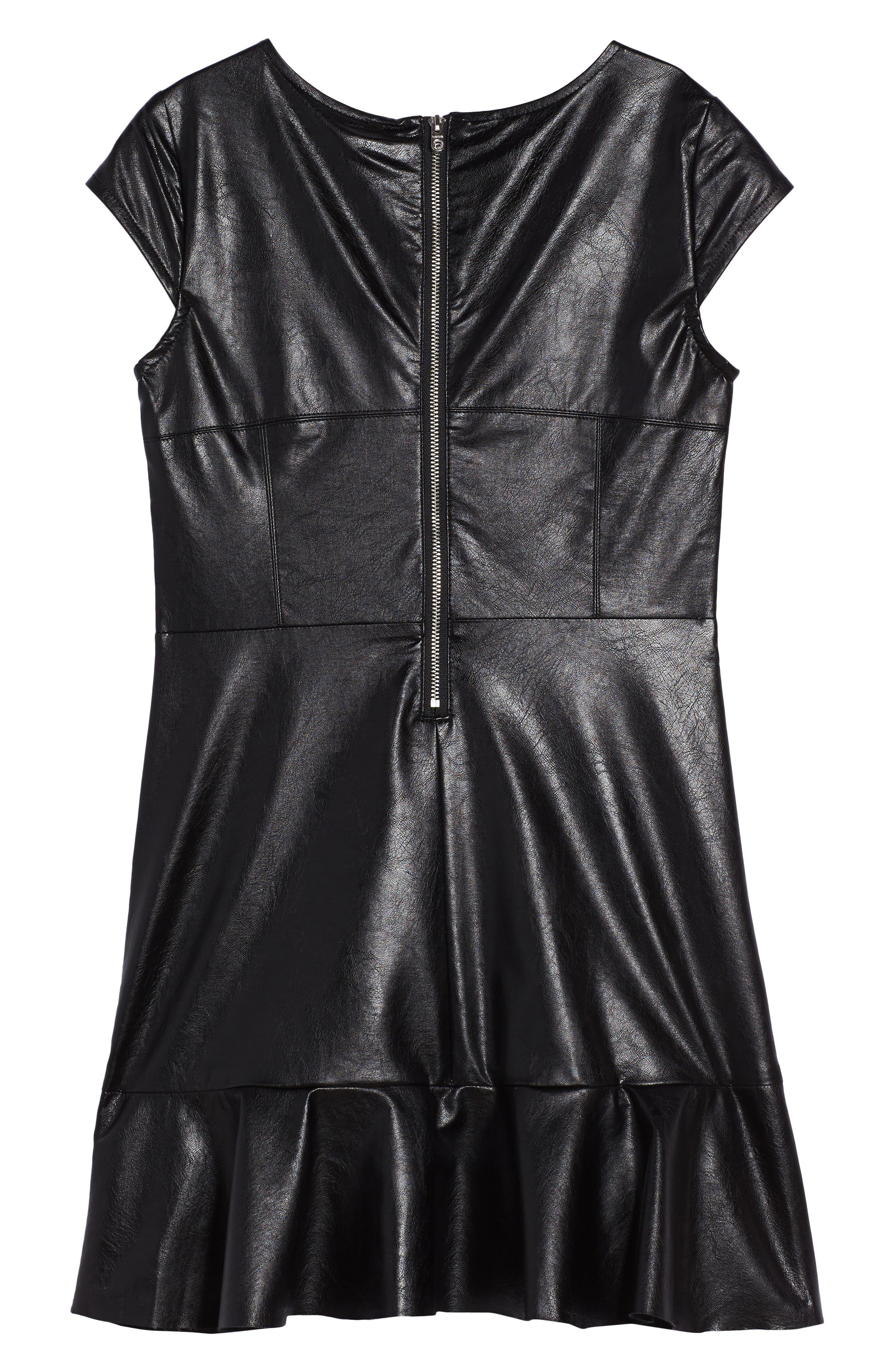 Alternate Image 2  - bebe Embroidered Faux Leather Dress (Big Girls)