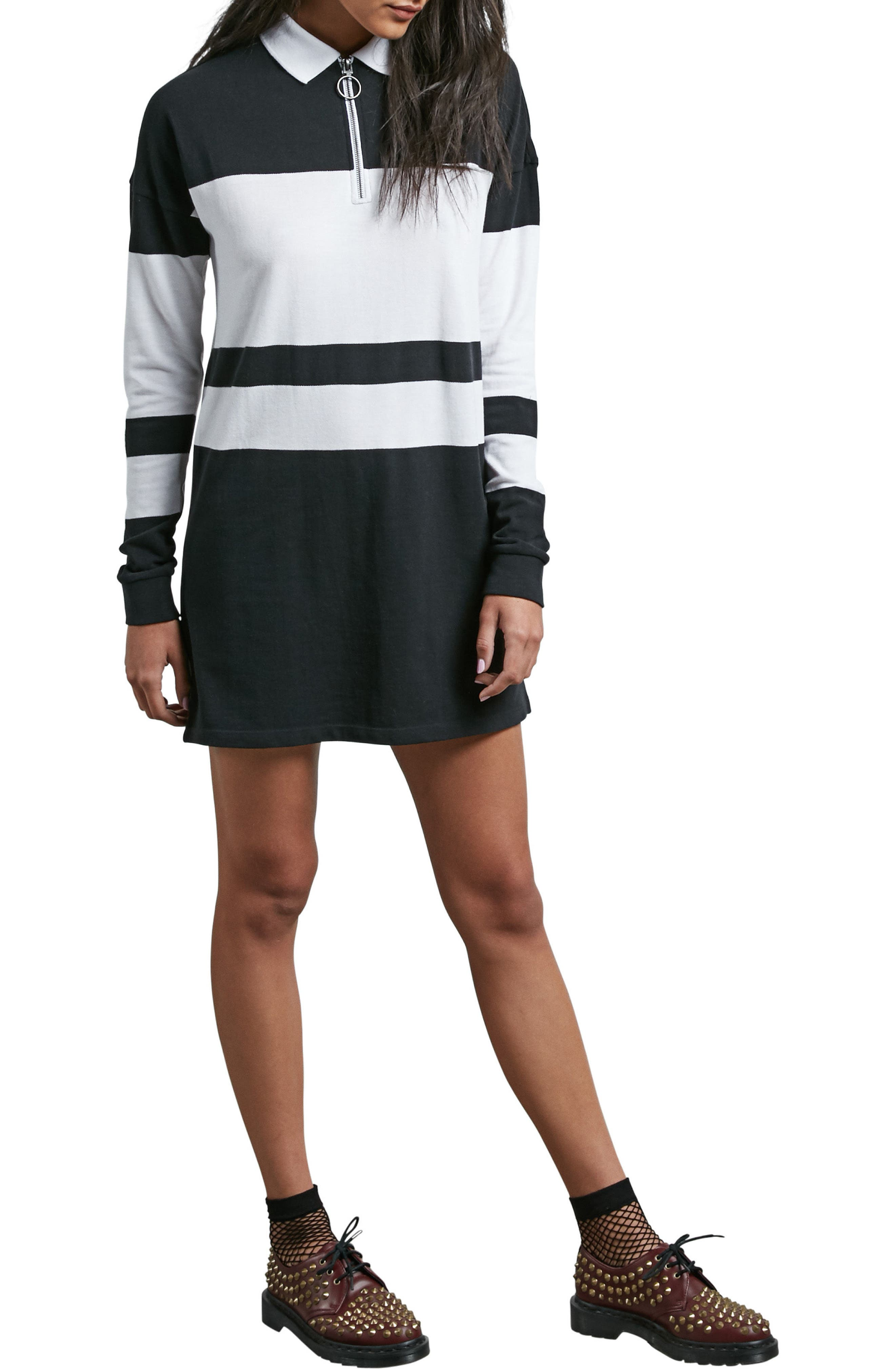 Pique Boo Rugby Dress,                         Main,                         color, Black