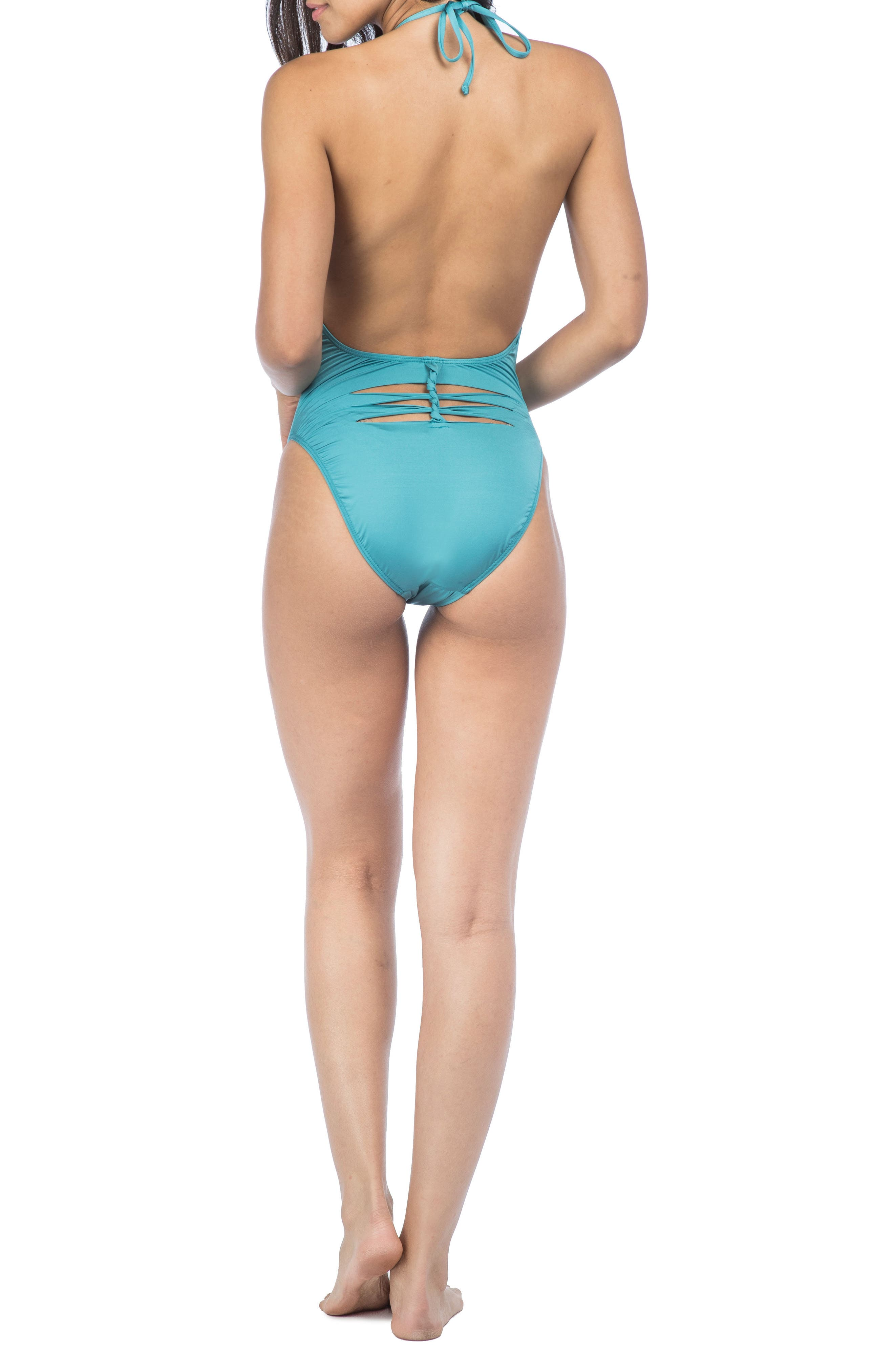 Plunge One-Piece Swimsuit,                             Alternate thumbnail 2, color,                             Teal