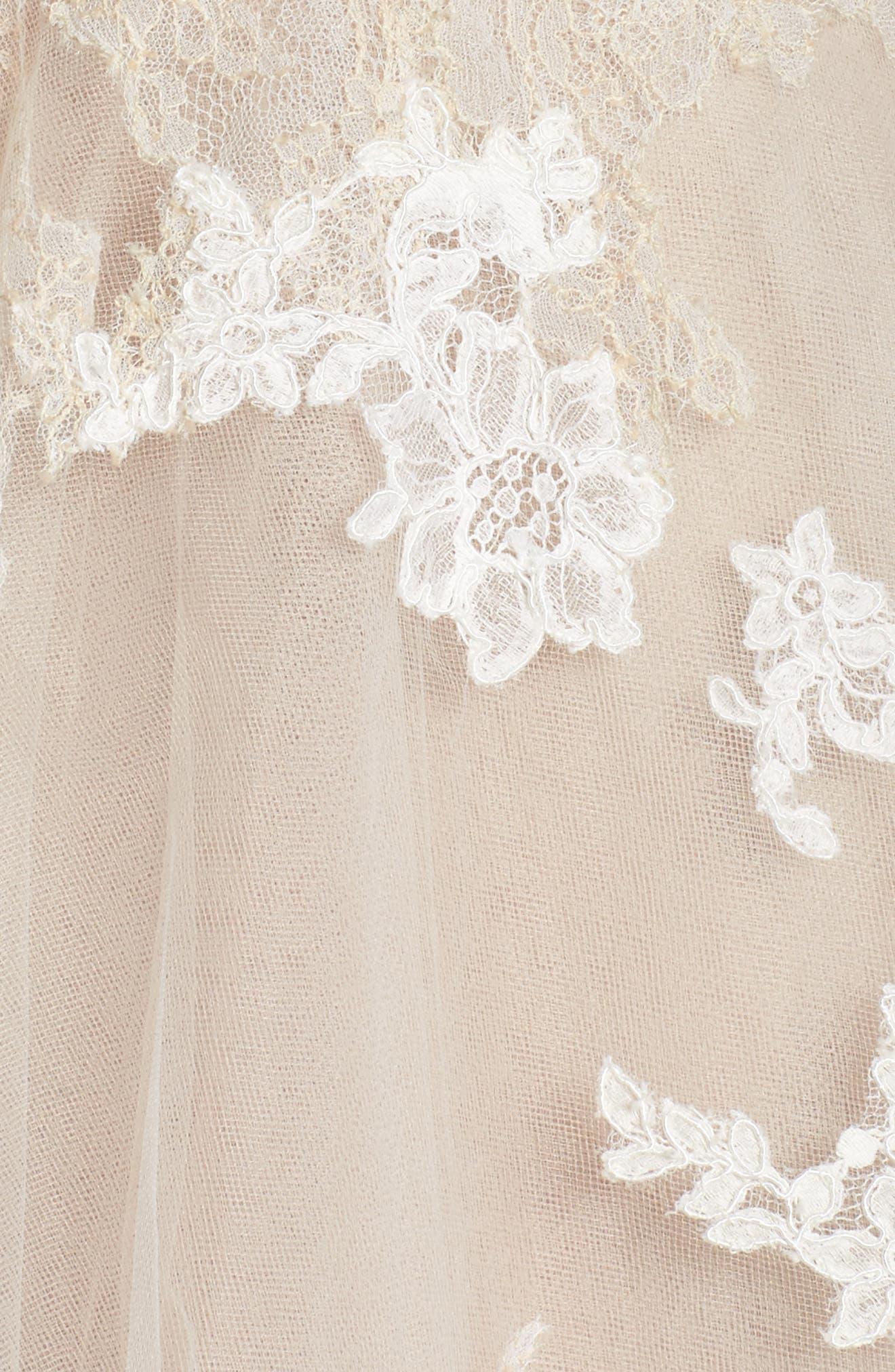Rachelle Illusion Long Sleeve Princess Gown,                             Alternate thumbnail 5, color,                             Latte