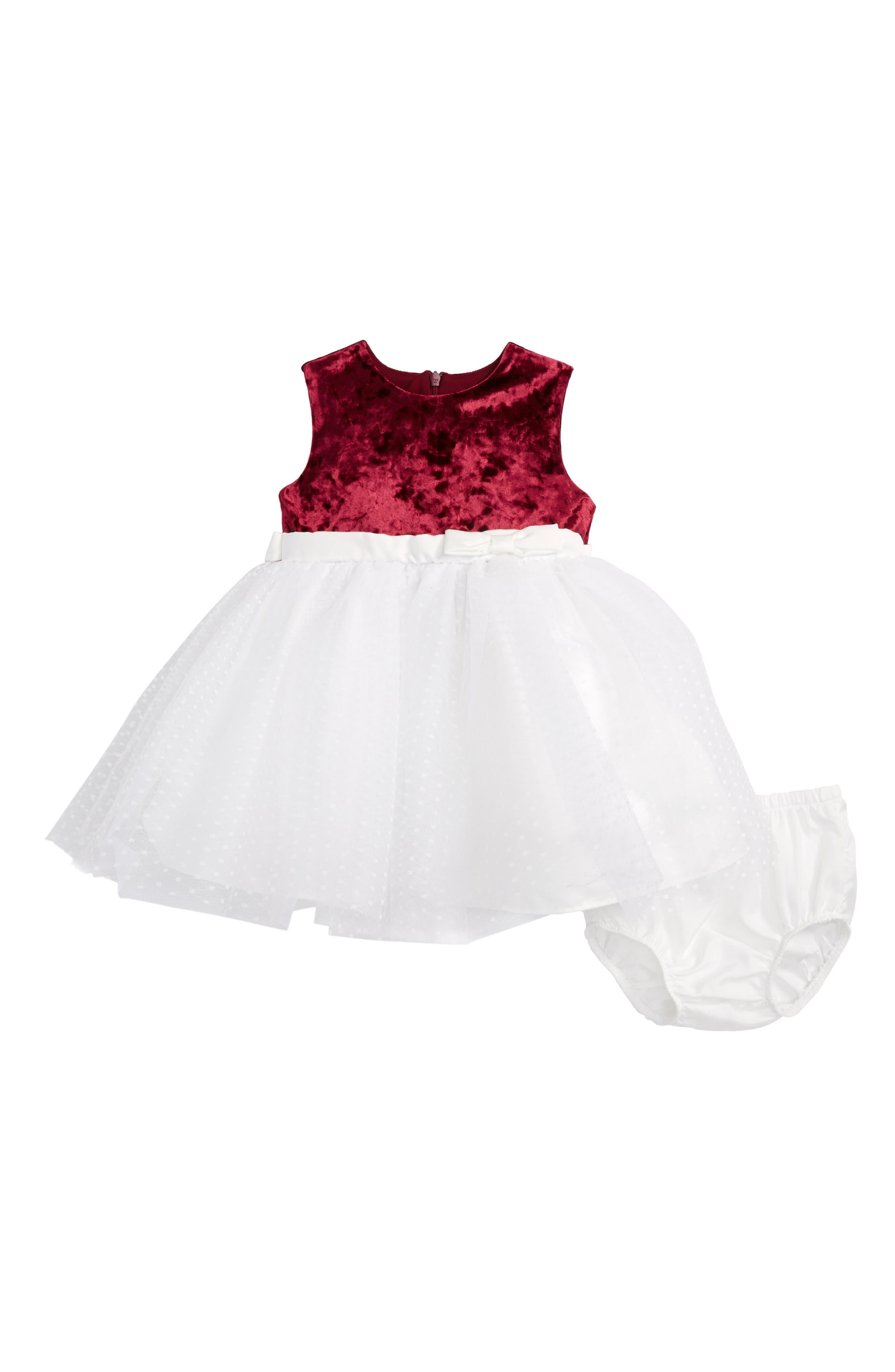 Velvet & Tulle Dress,                         Main,                         color, Cranberry