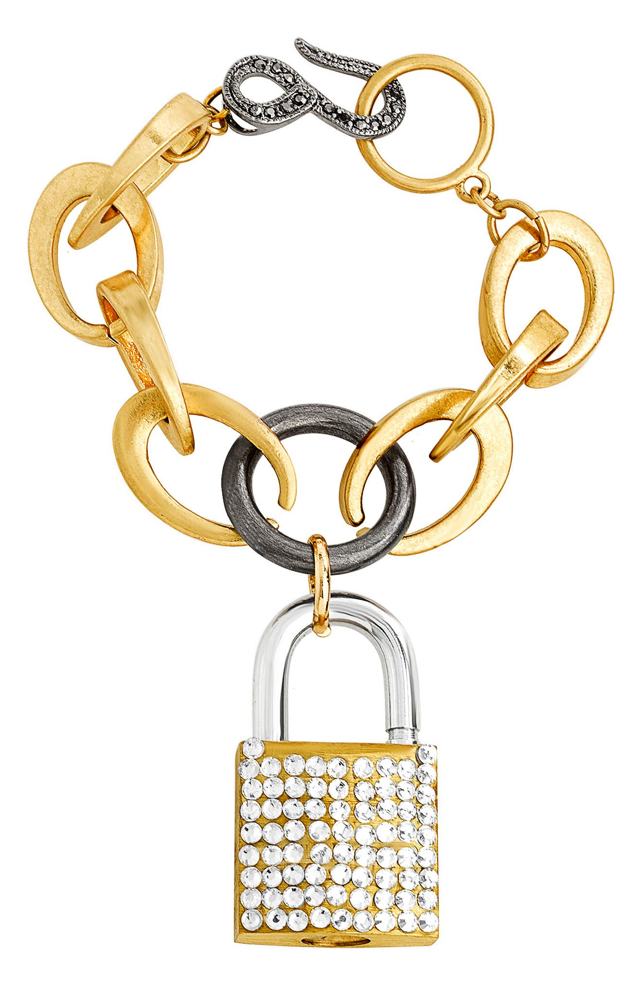 Rolo Crystal Lock Chain Bracelet,                         Main,                         color, Gold