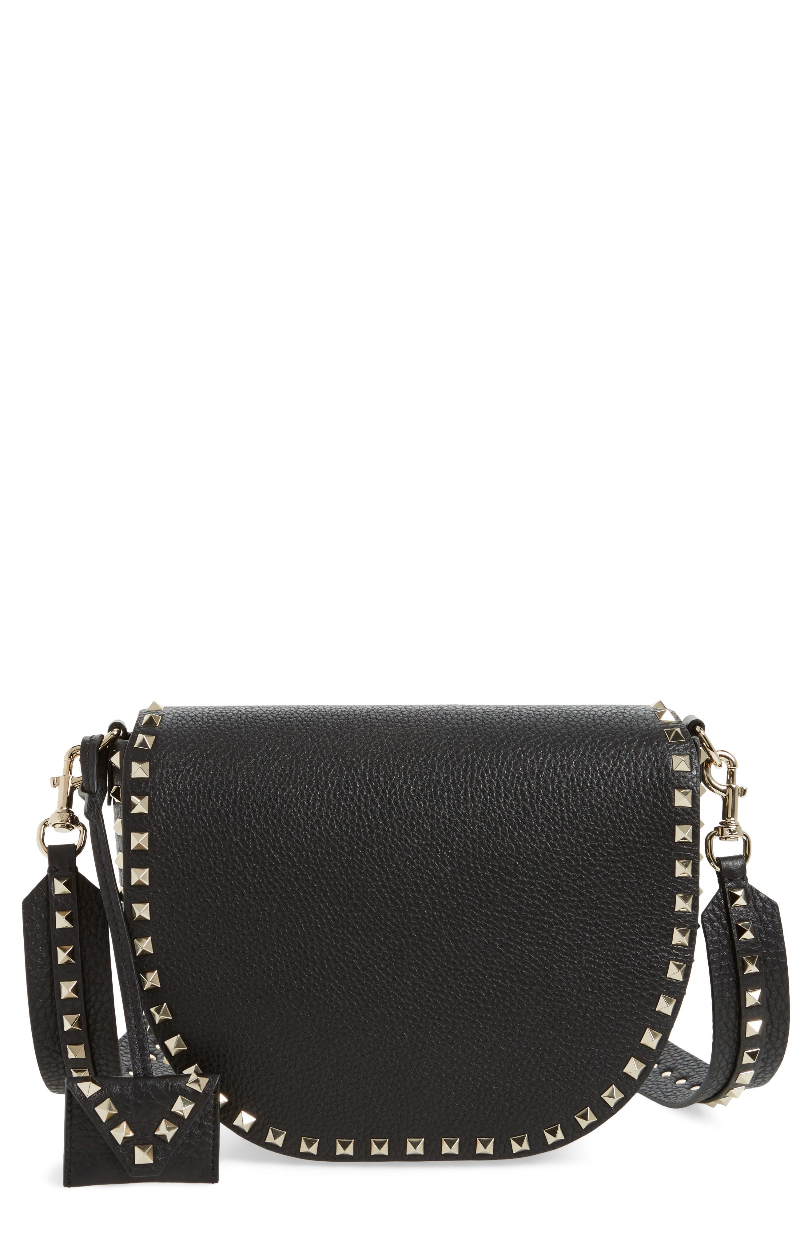 Rockstud Leather Saddle Bag,                         Main,                         color, Black