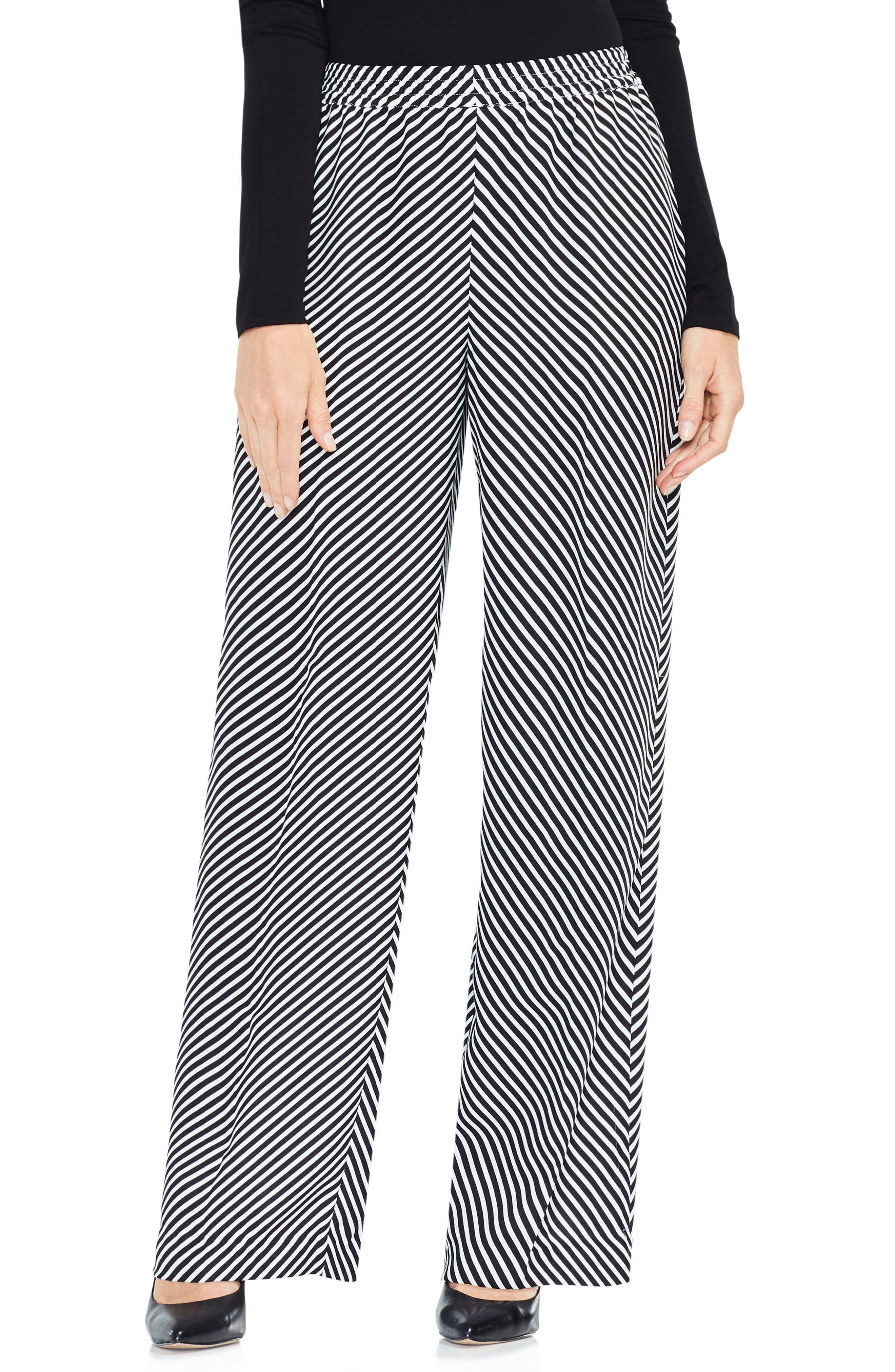 Diagonal Stripe Wide Leg Pants,                         Main,                         color, Rich Black