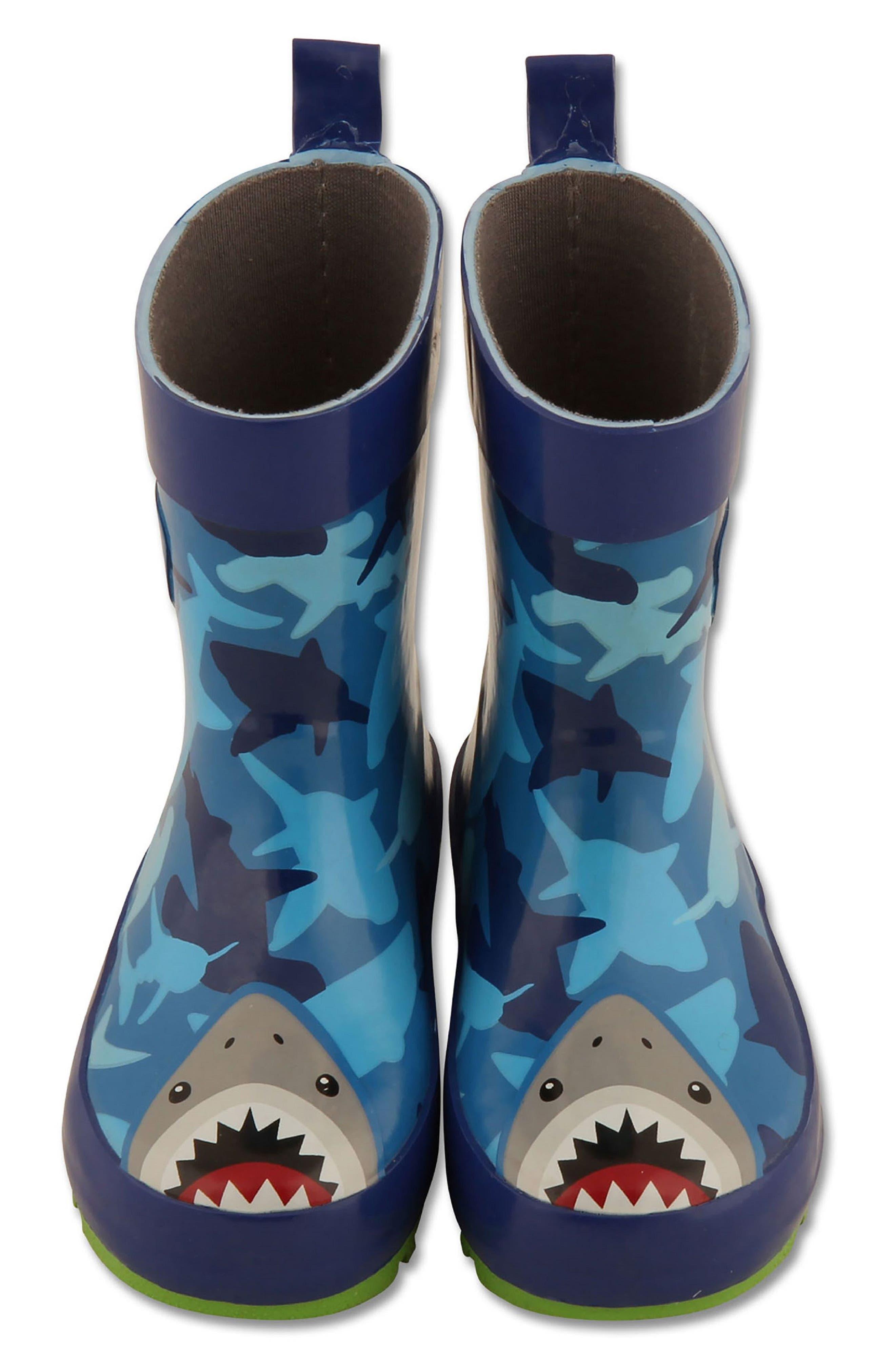 Shark Rain Boots & Umbrella Set,                             Alternate thumbnail 3, color,                             Shark