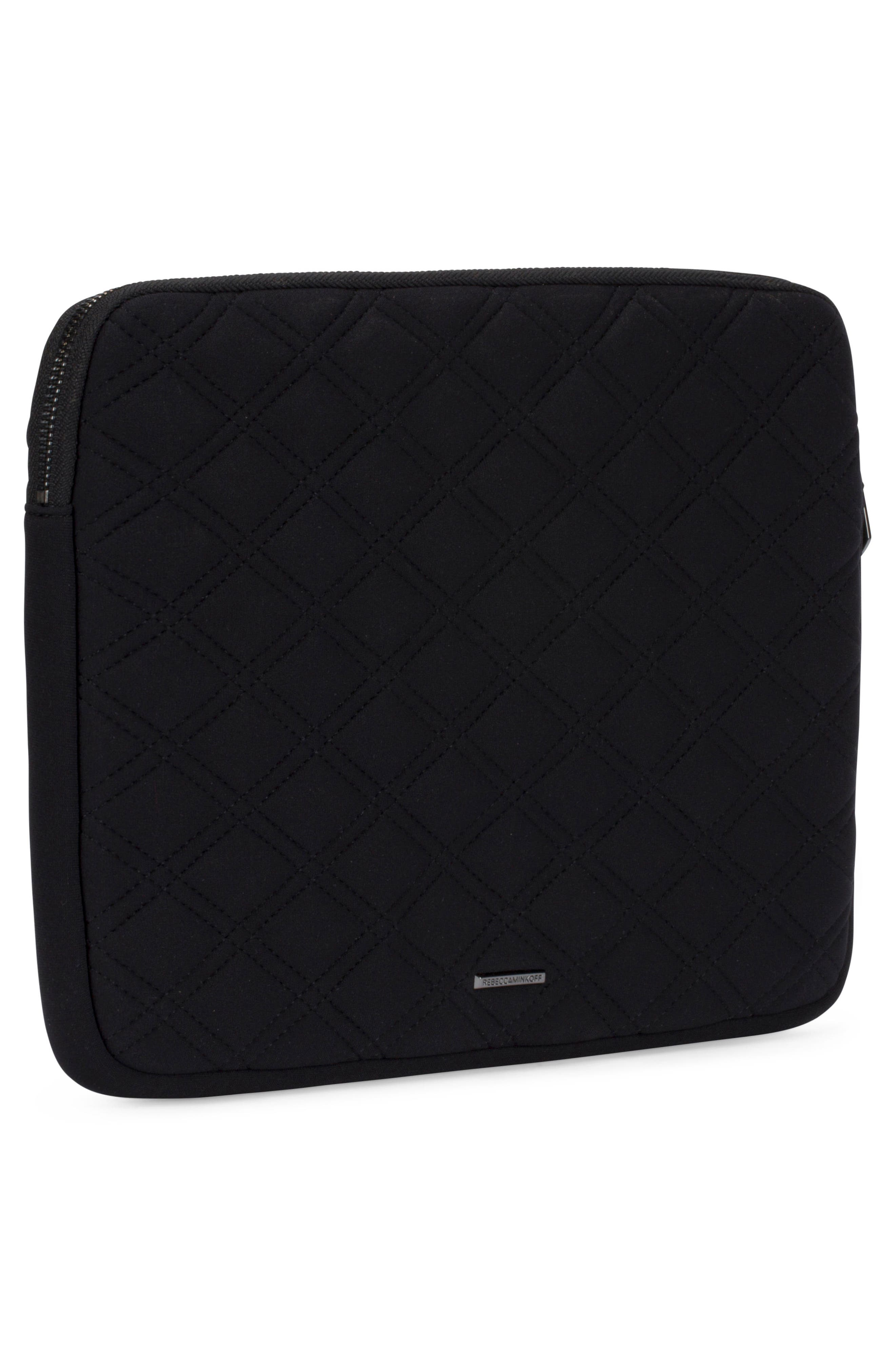 Quilted Stud Laptop Case,                             Alternate thumbnail 4, color,                             Black/ Black Pearl Studs