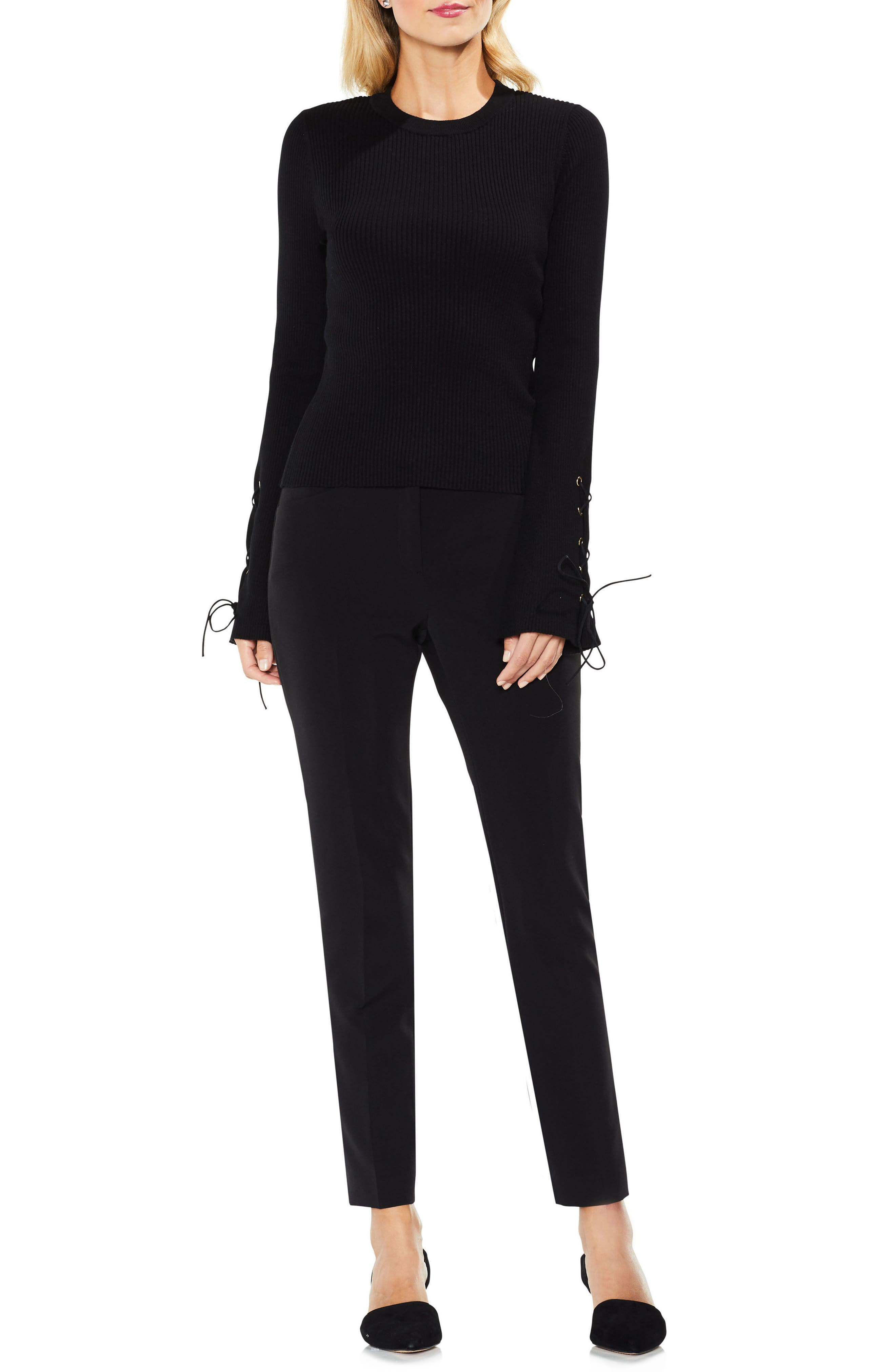 Lace-Up Bell Sleeve Ribbed Sweater,                             Alternate thumbnail 4, color,                             Rich Black