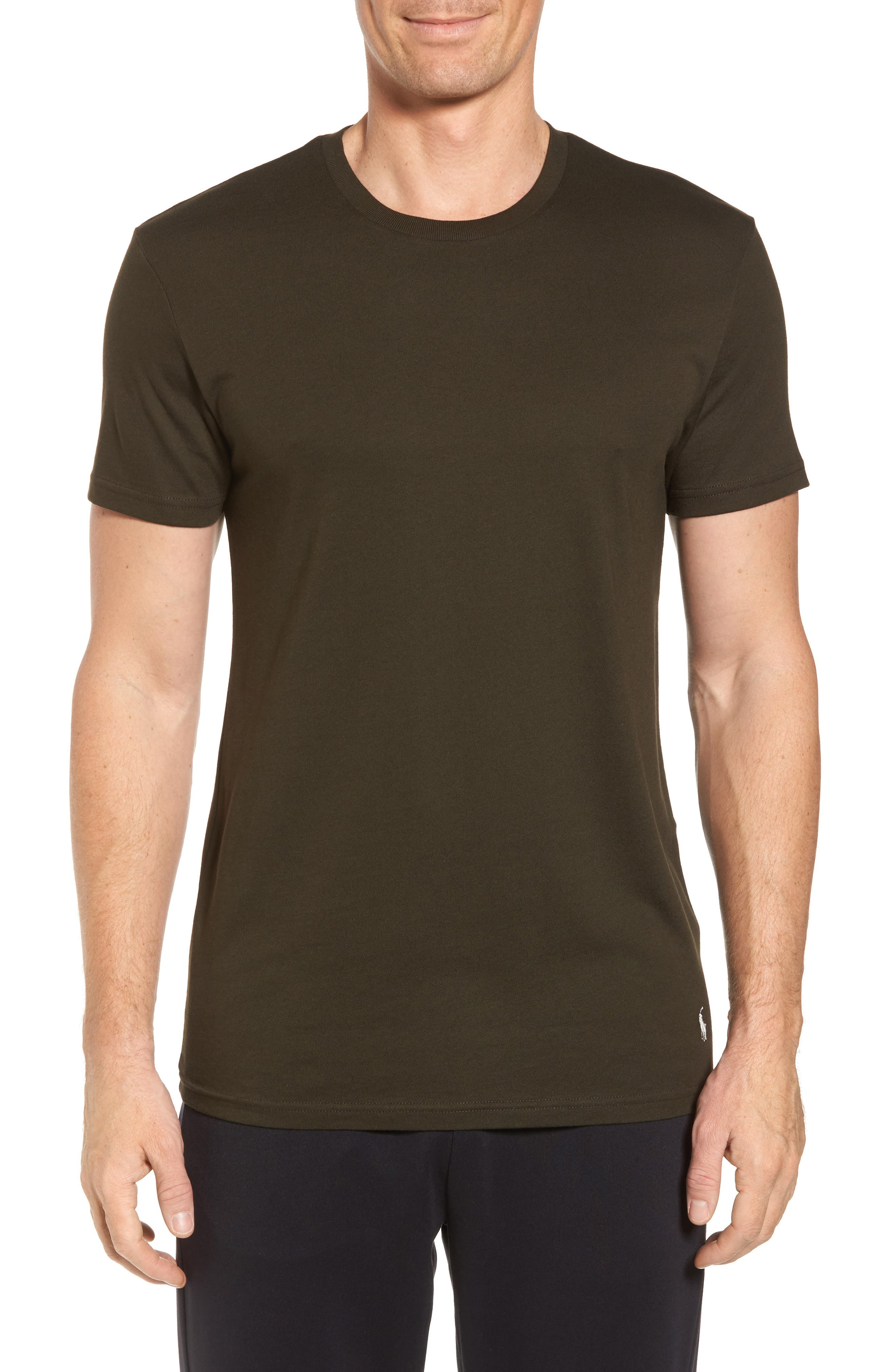 Supreme Comfort Short Sleeve Pajama Top,                         Main,                         color, Rich Olive/ Chic Cream