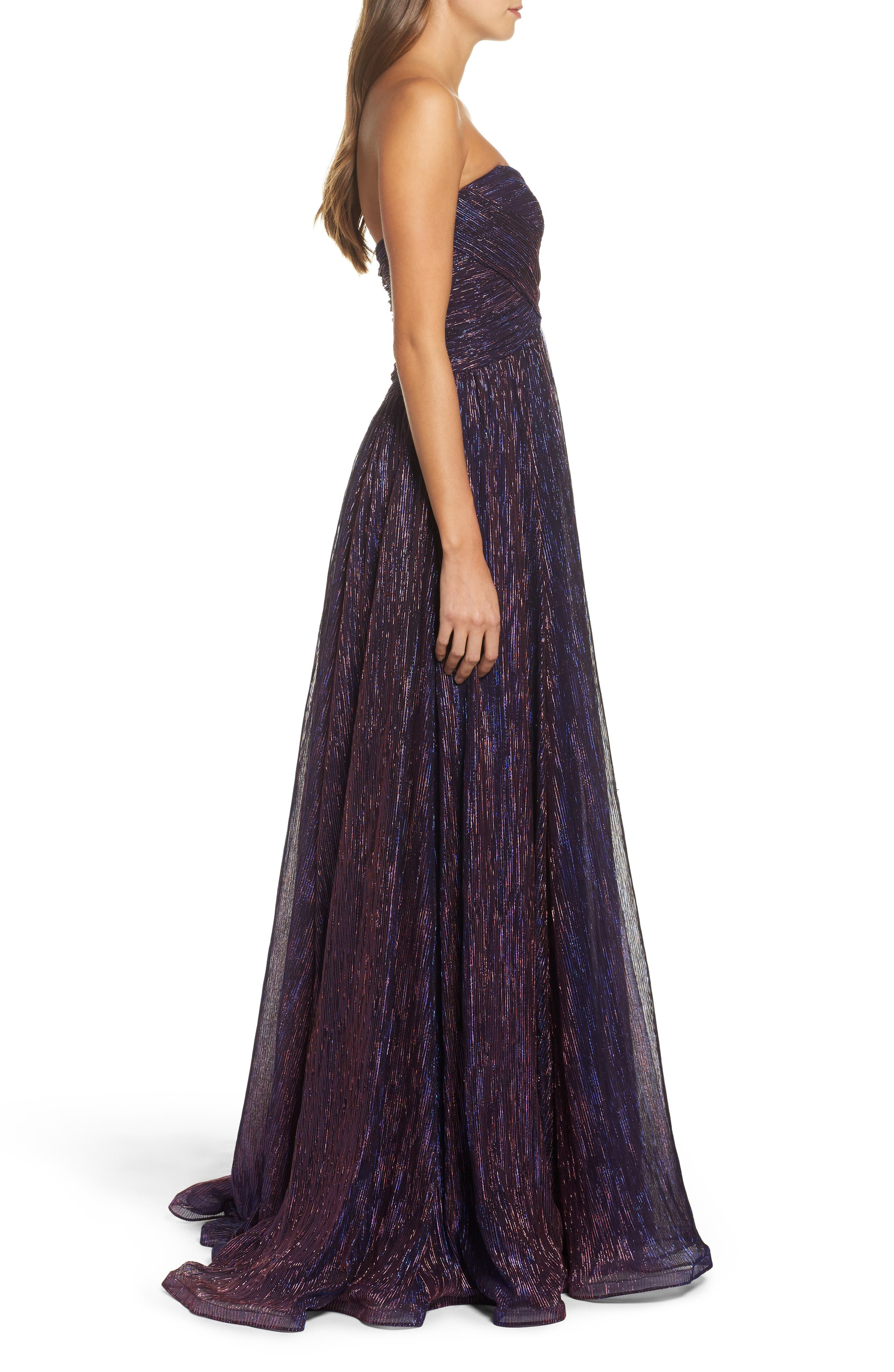 Metallic Strapless A-Line Gown,                             Alternate thumbnail 4, color,                             Purple/ Multi