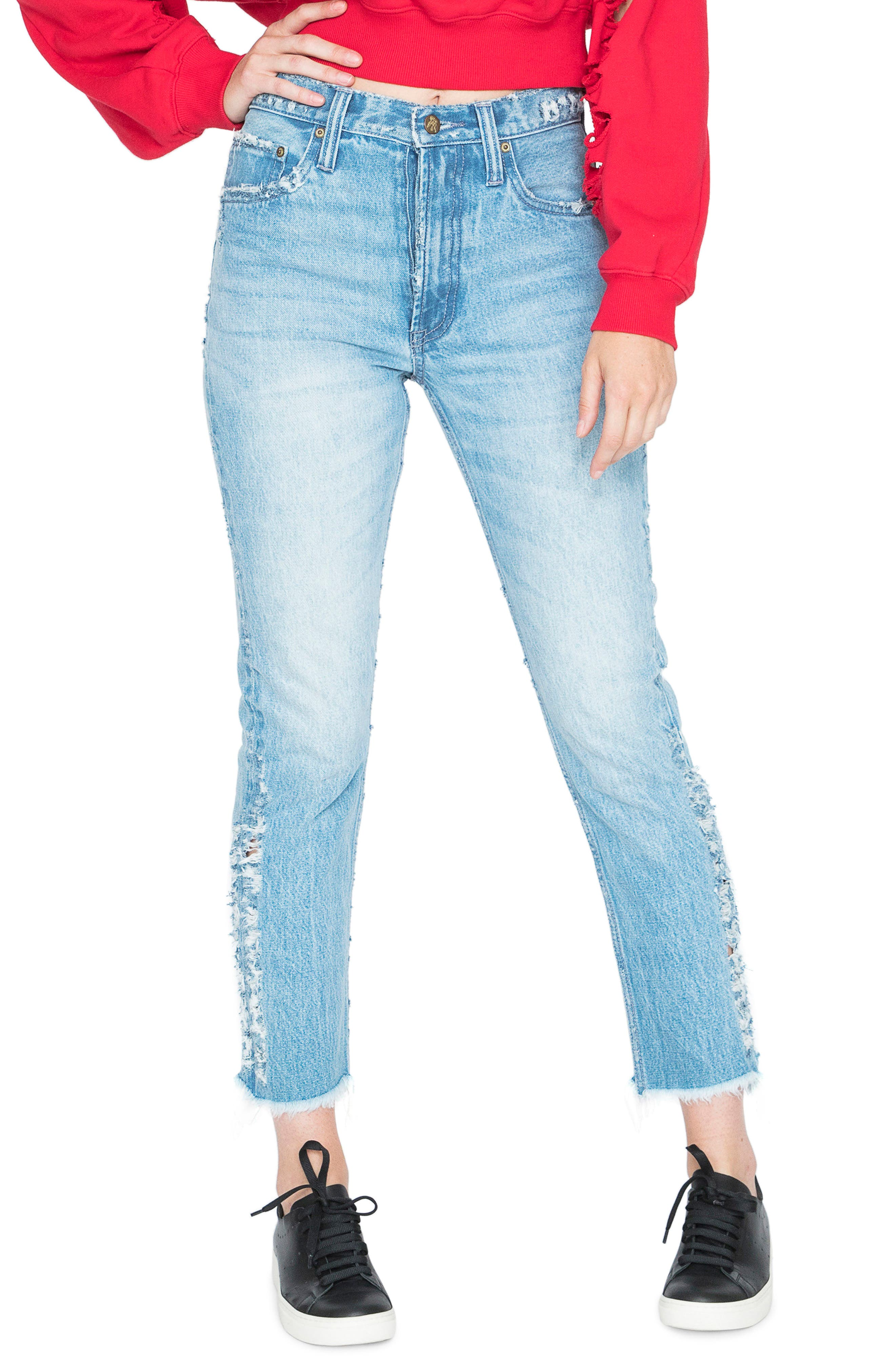 AMX Side Fray High Waist Ankle Jeans,                             Main thumbnail 1, color,                             Light Stone