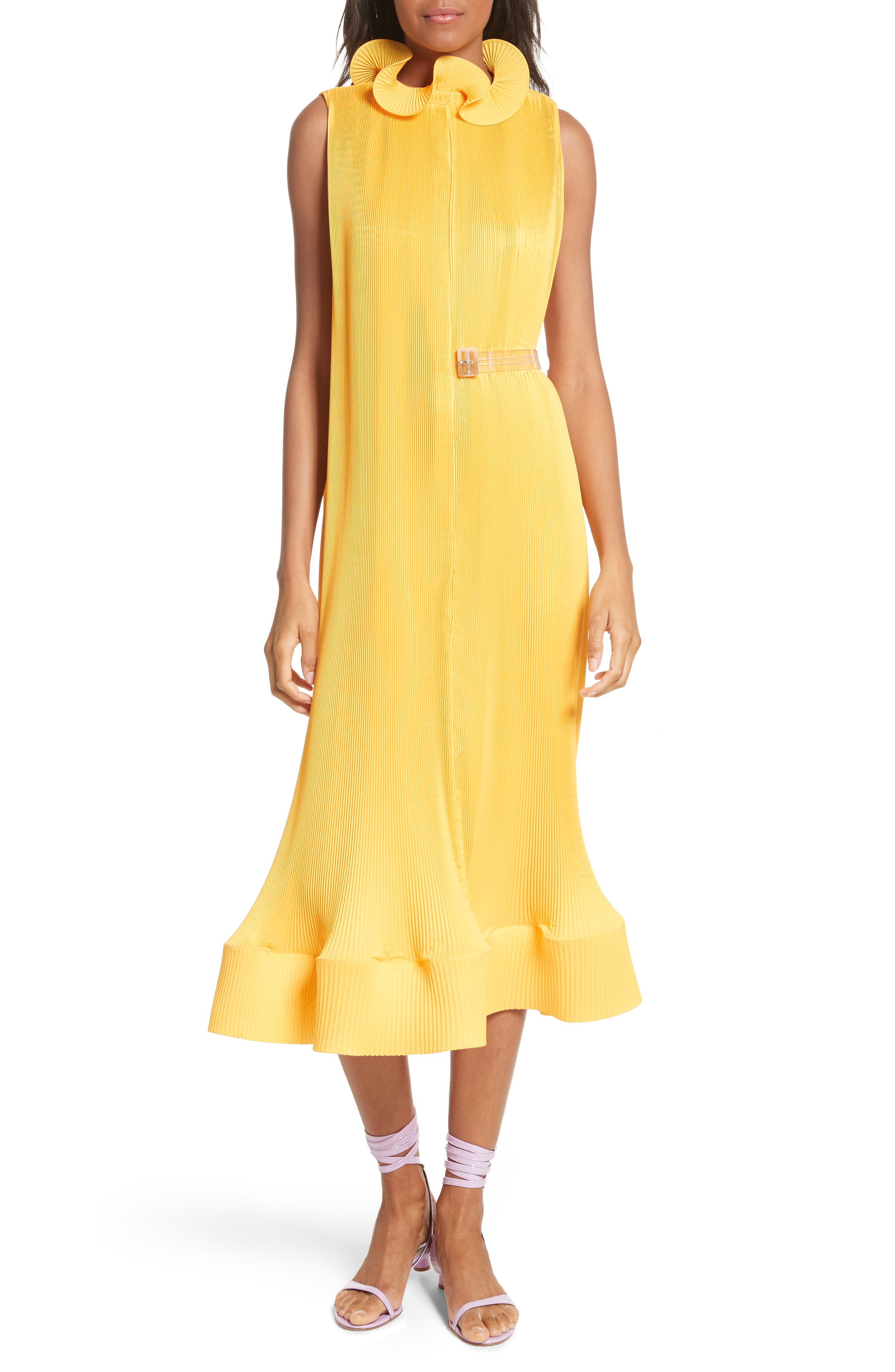Asymmetrical Belted Dress,                             Main thumbnail 1, color,                             Sunray