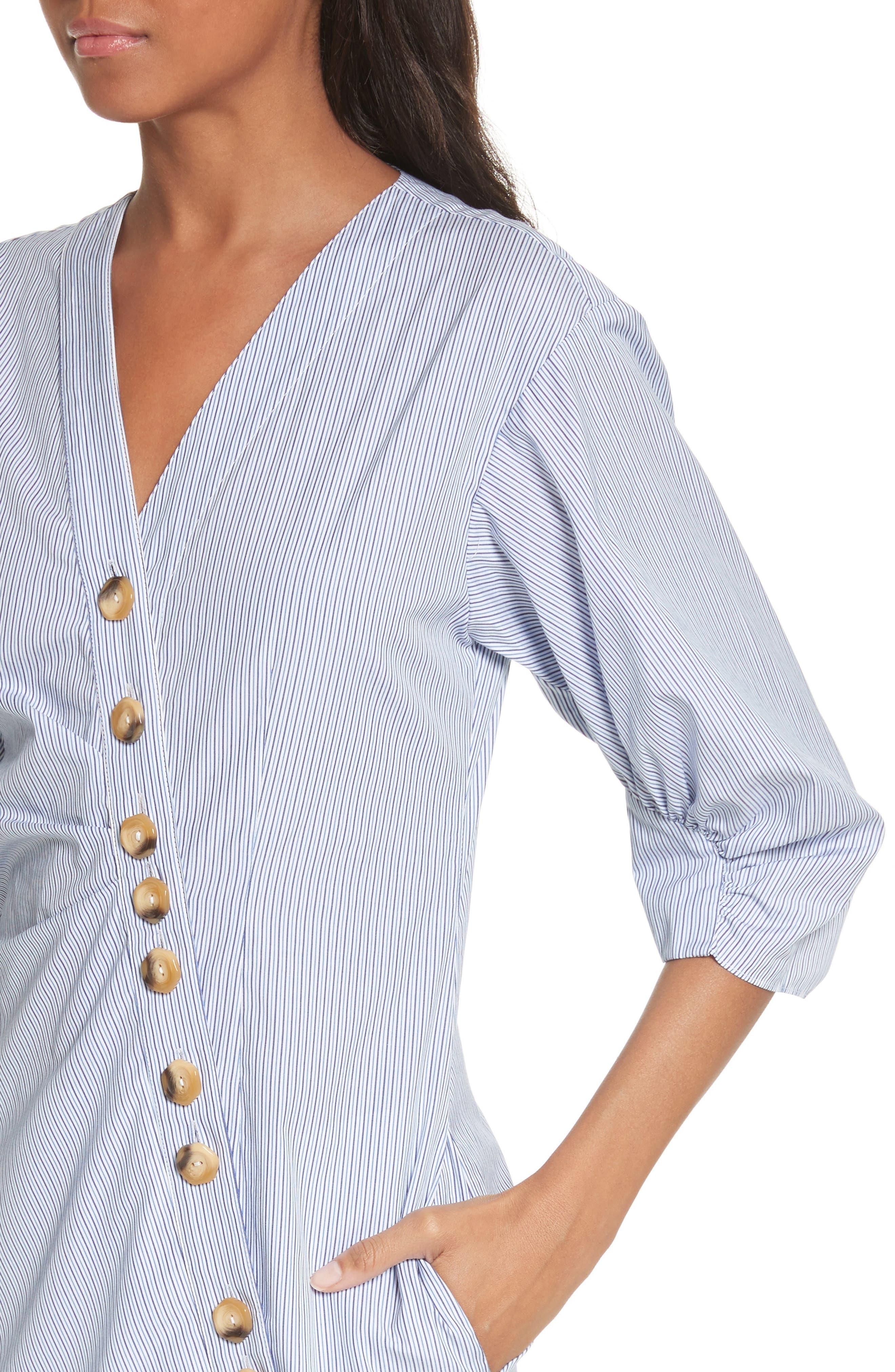 Asymmetrical Cotton Shirtdress,                             Alternate thumbnail 3, color,                             Blue Multi