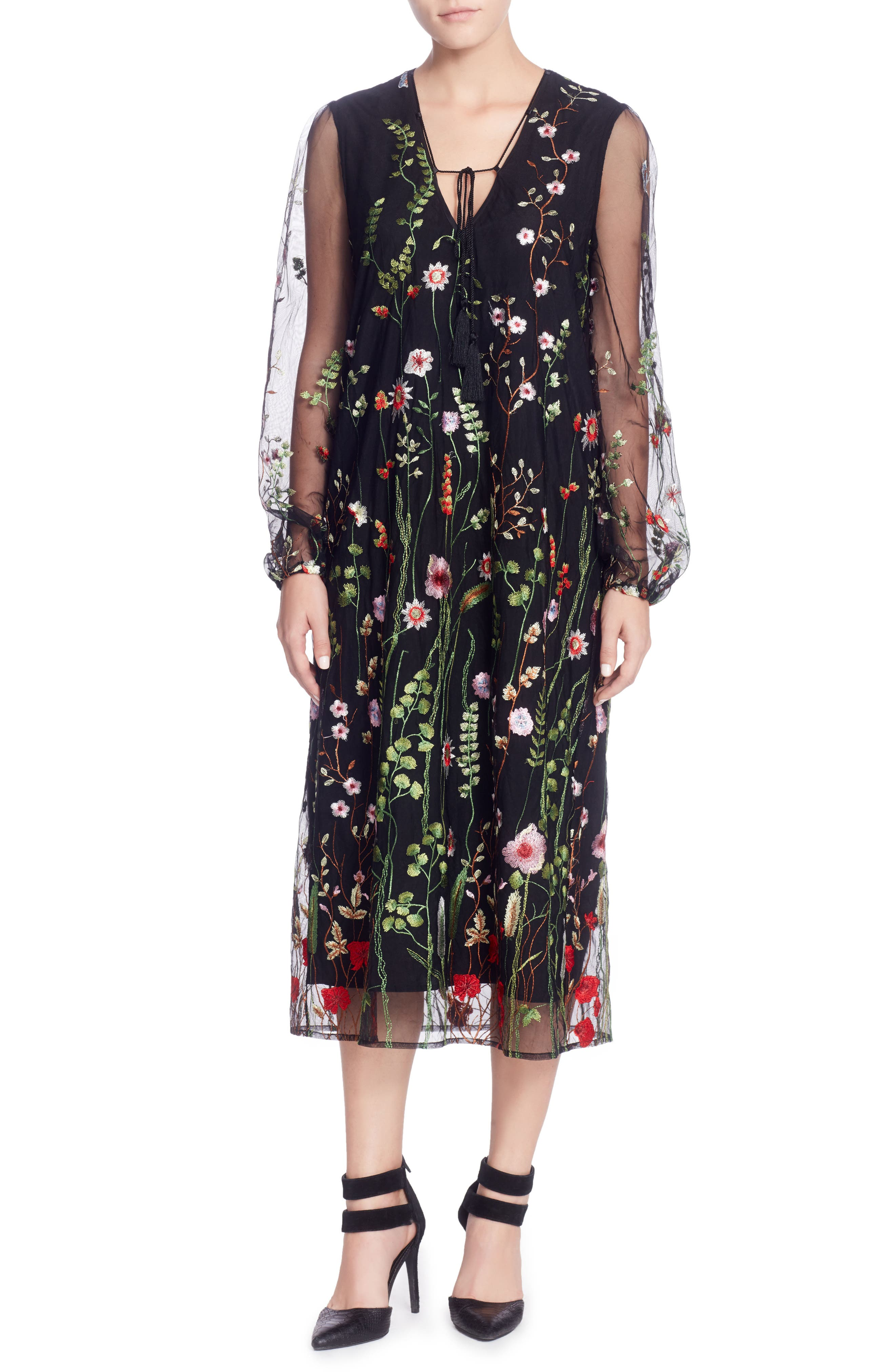 Mirella Midi Dress,                             Main thumbnail 1, color,                             Black