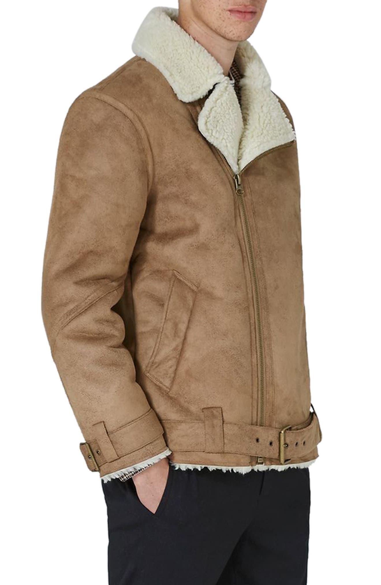 Topman Borg Collar Faux Shearling Jacket