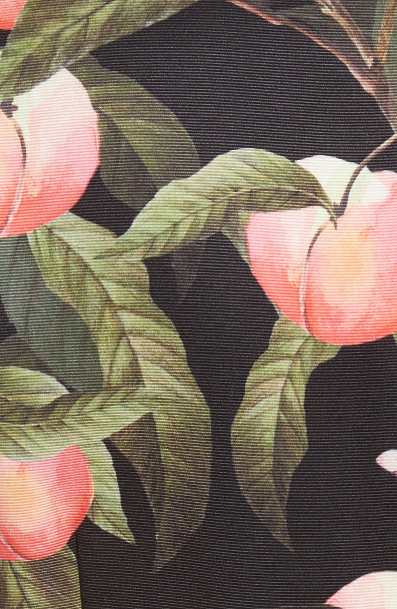 Peach Blossom Faux Wrap Midi Dress,                             Alternate thumbnail 5, color,                             Black