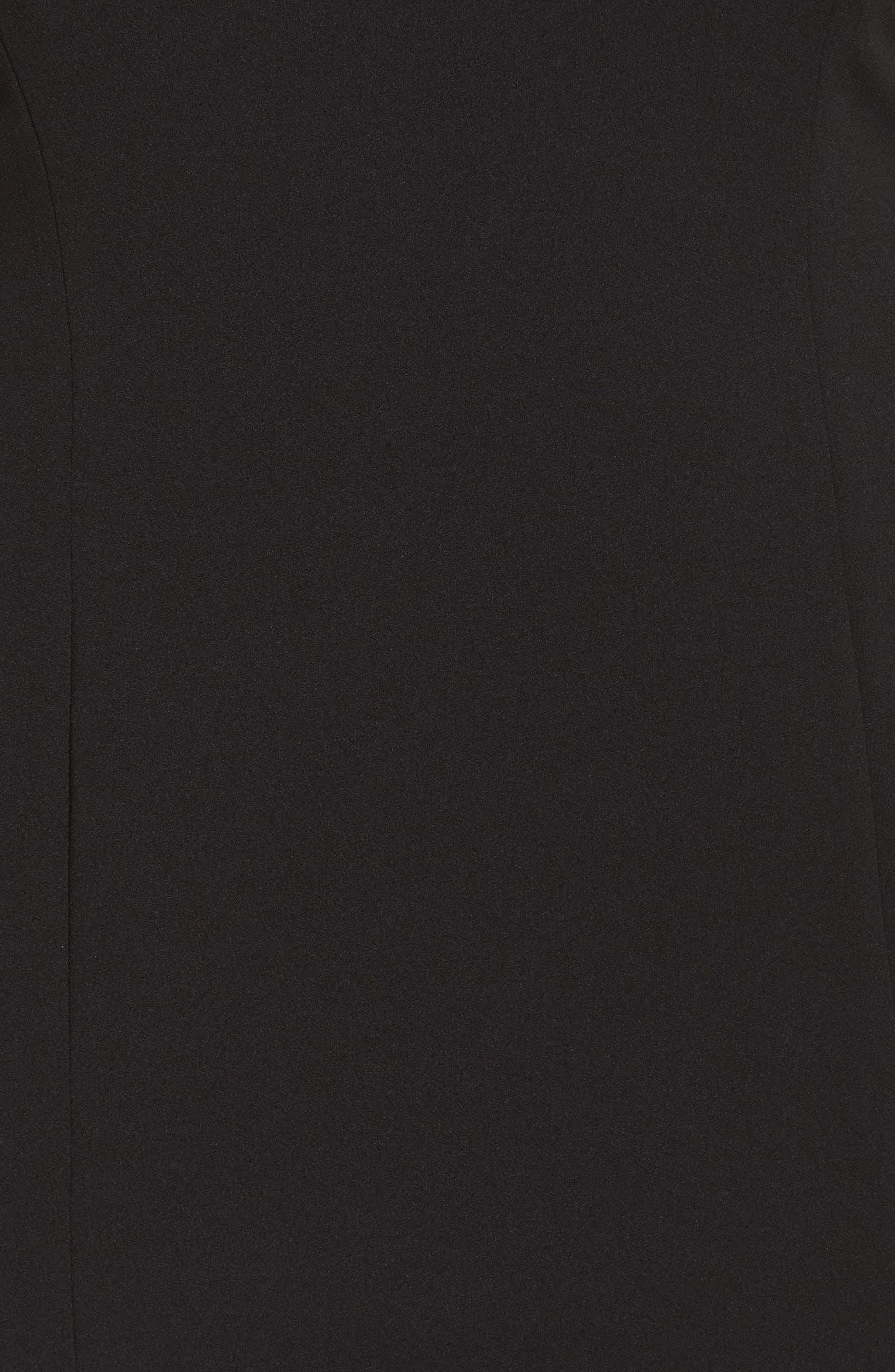 V-Back Sheath Dress,                             Alternate thumbnail 5, color,                             Black