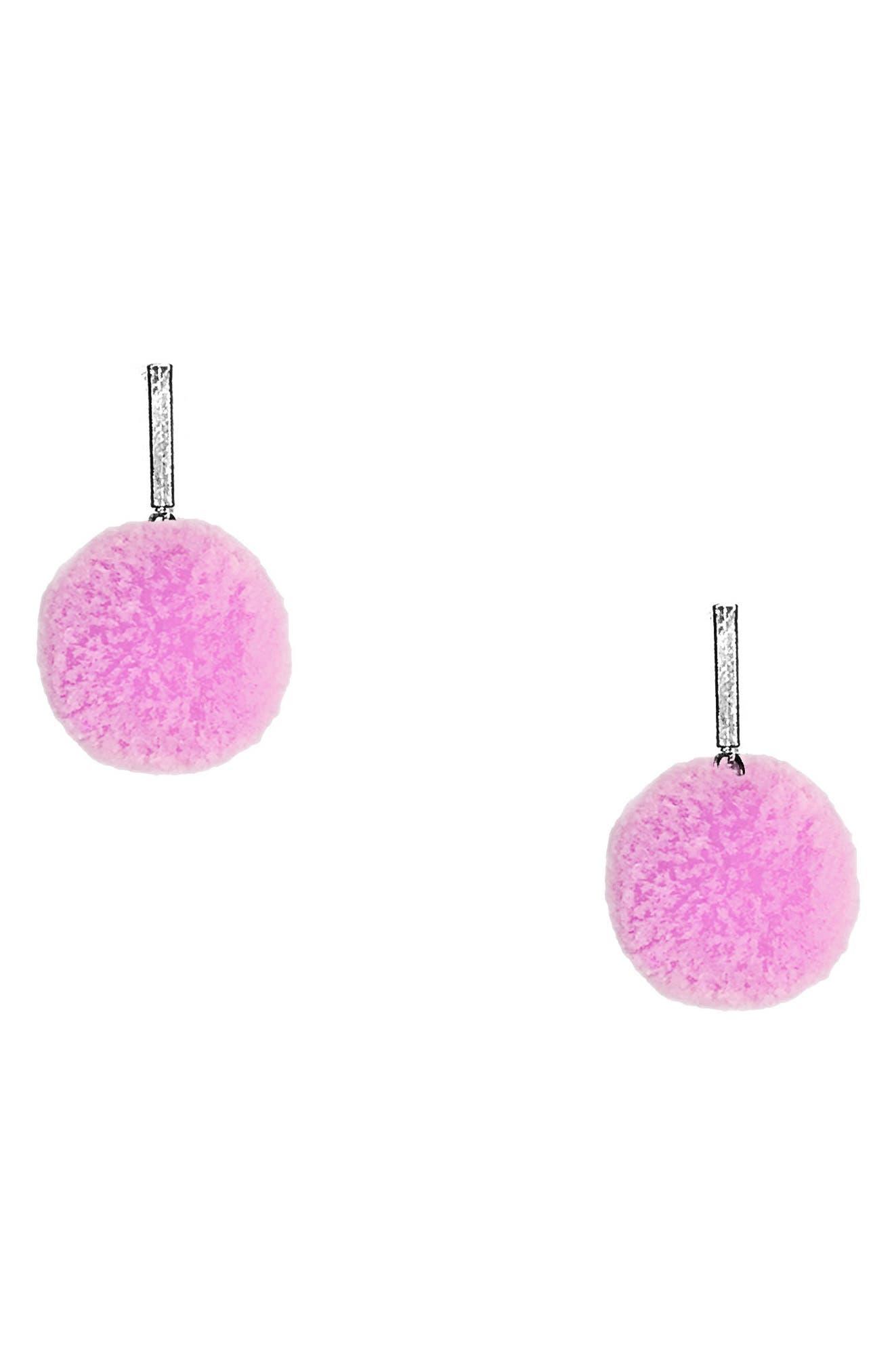Velvet Pompom Stud Earrings,                             Main thumbnail 1, color,                             Silver/ Light Pink