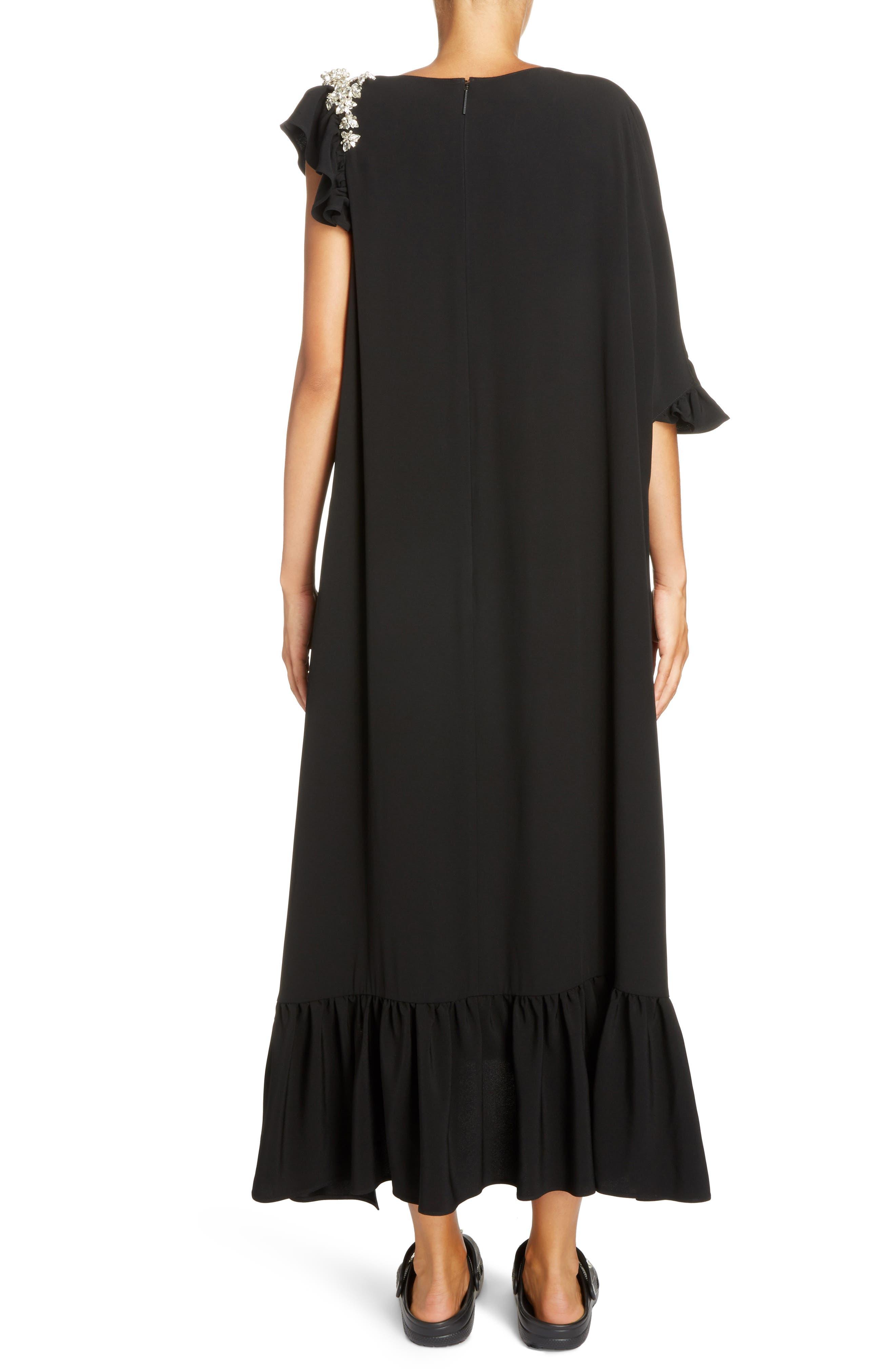 Crystal Embellished Frill Maxi Dress,                             Alternate thumbnail 2, color,                             Black