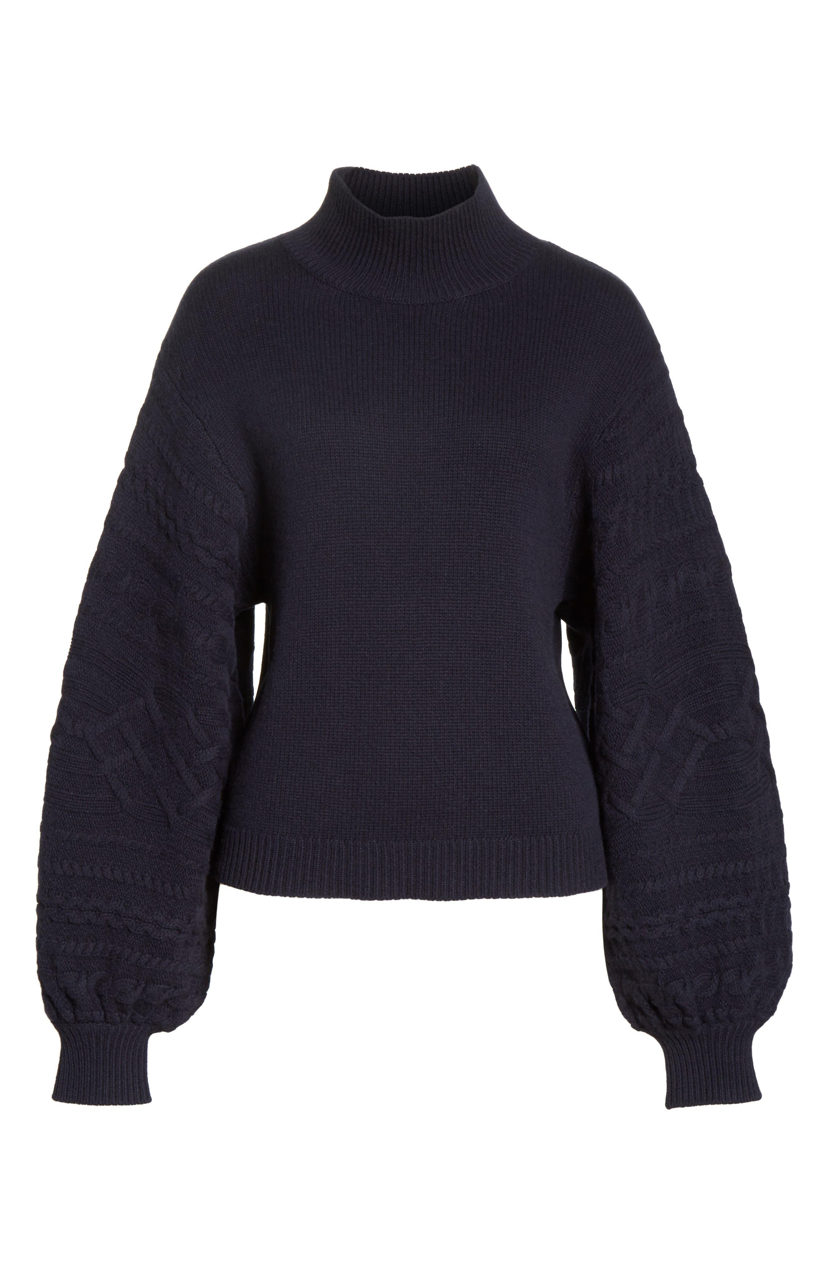 Lathen Mock Neck Sweater,                             Alternate thumbnail 6, color,                             Midnight