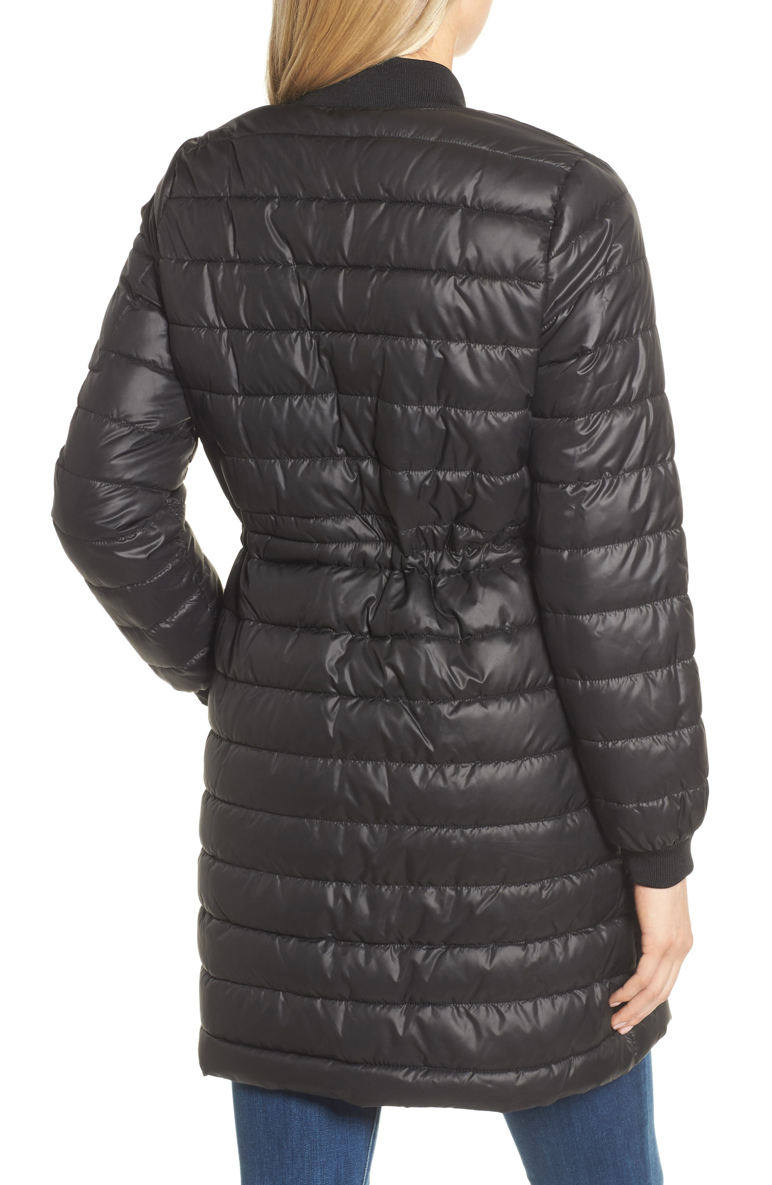 Lightweight Quilted Puffer Coat,                             Alternate thumbnail 2, color,                             Black