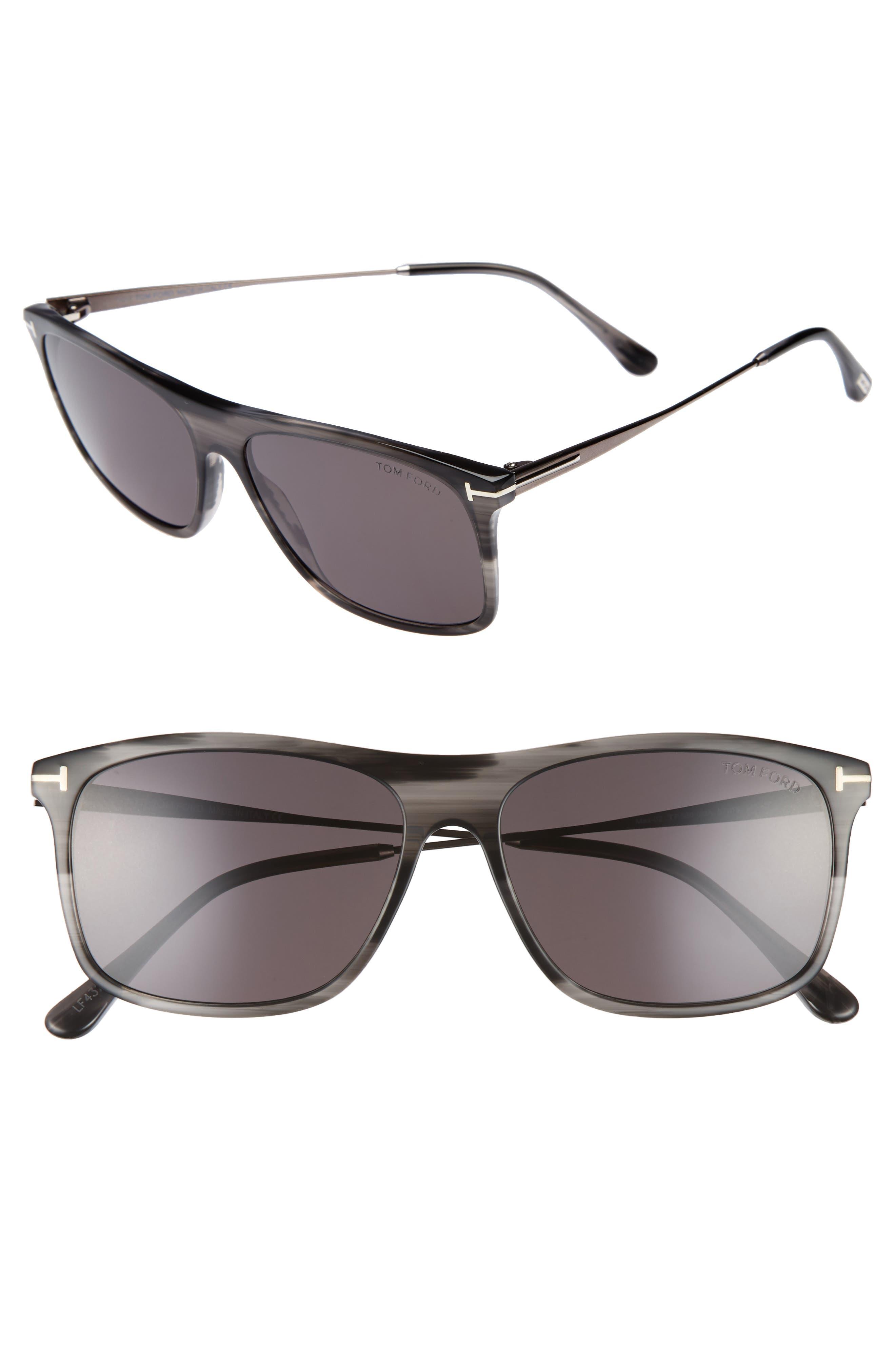 Max 57mm Sunglasses,                             Main thumbnail 1, color,                             Grey/ Black/ Ruthenium/ Smoke