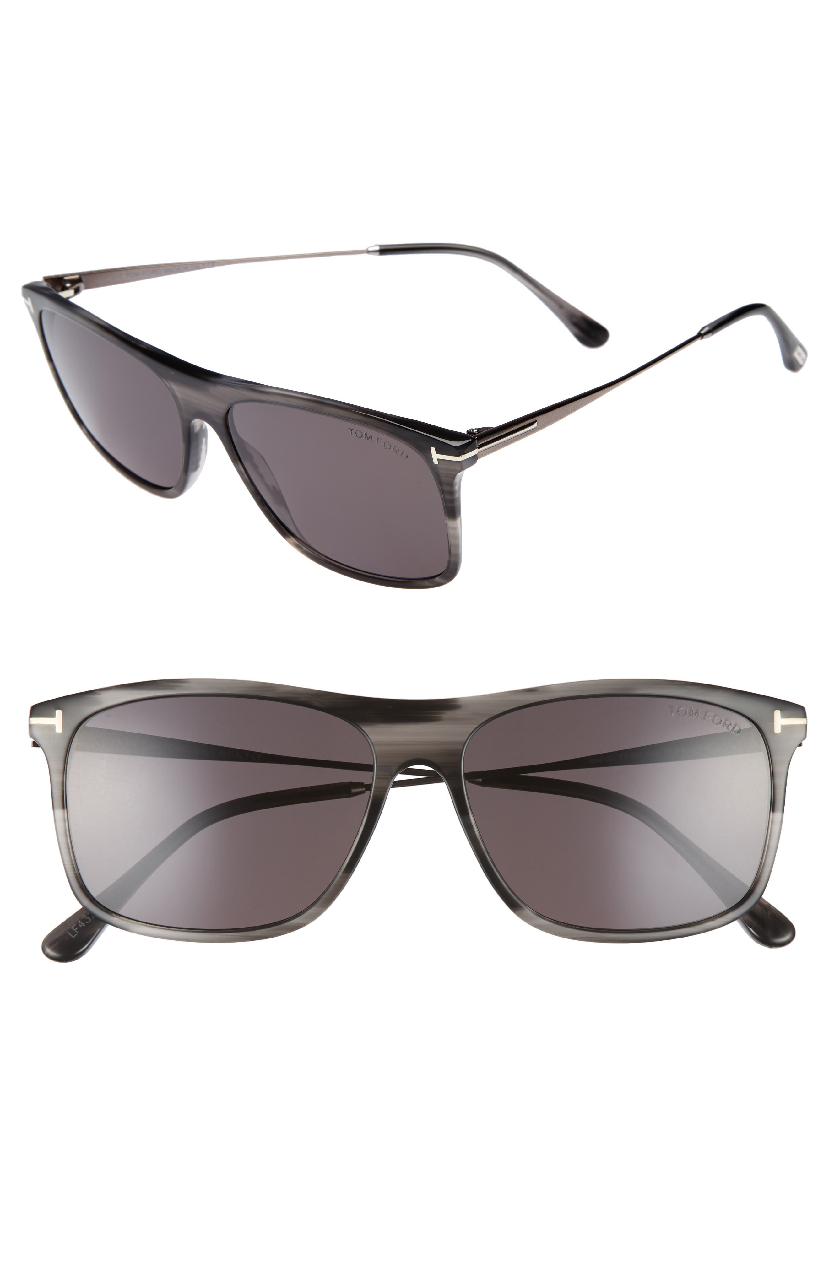 Max 57mm Sunglasses,                         Main,                         color, Grey/ Black/ Ruthenium/ Smoke