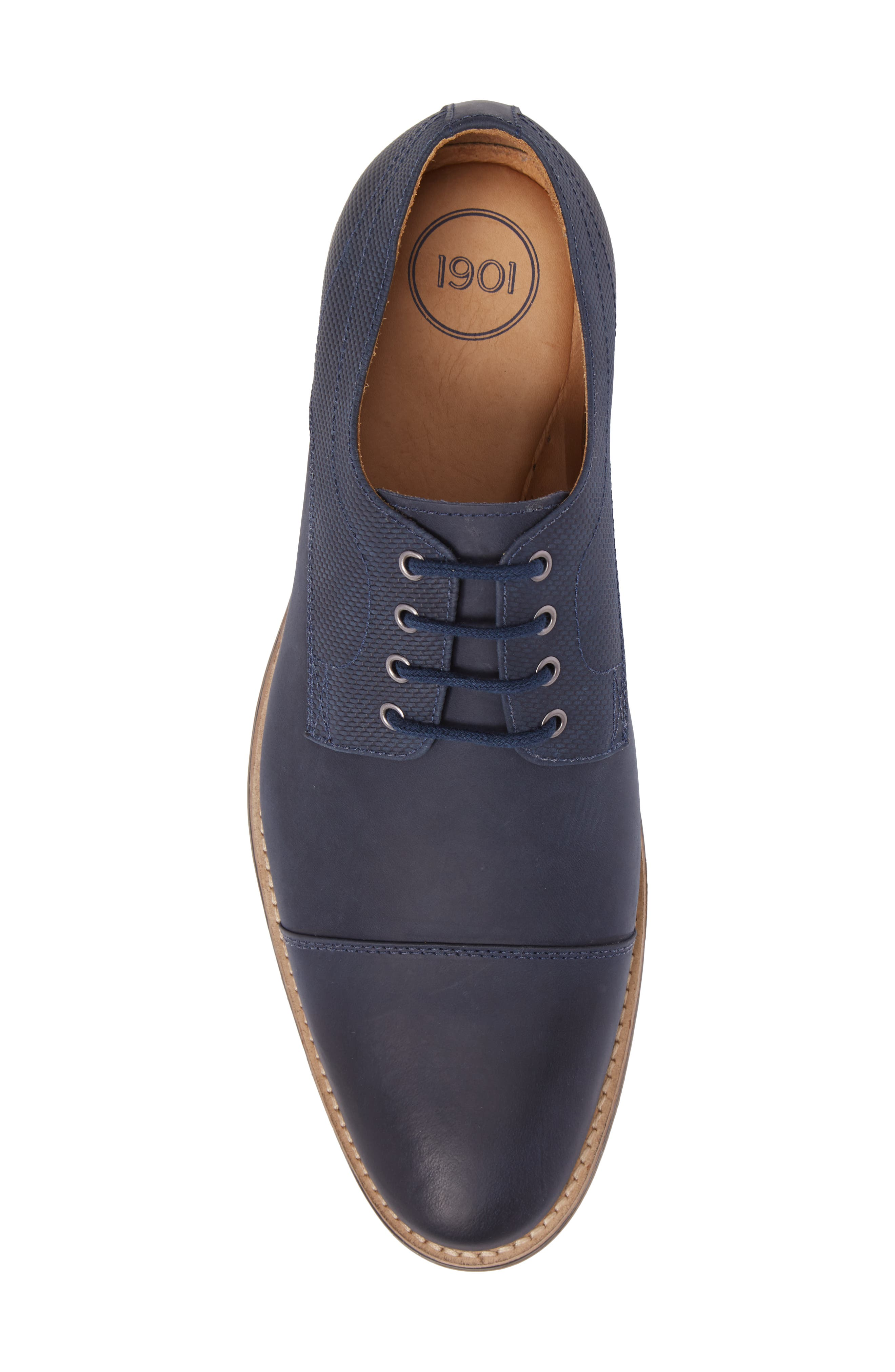 Goleta Cap Toe Derby,                             Alternate thumbnail 5, color,                             Navy Leather
