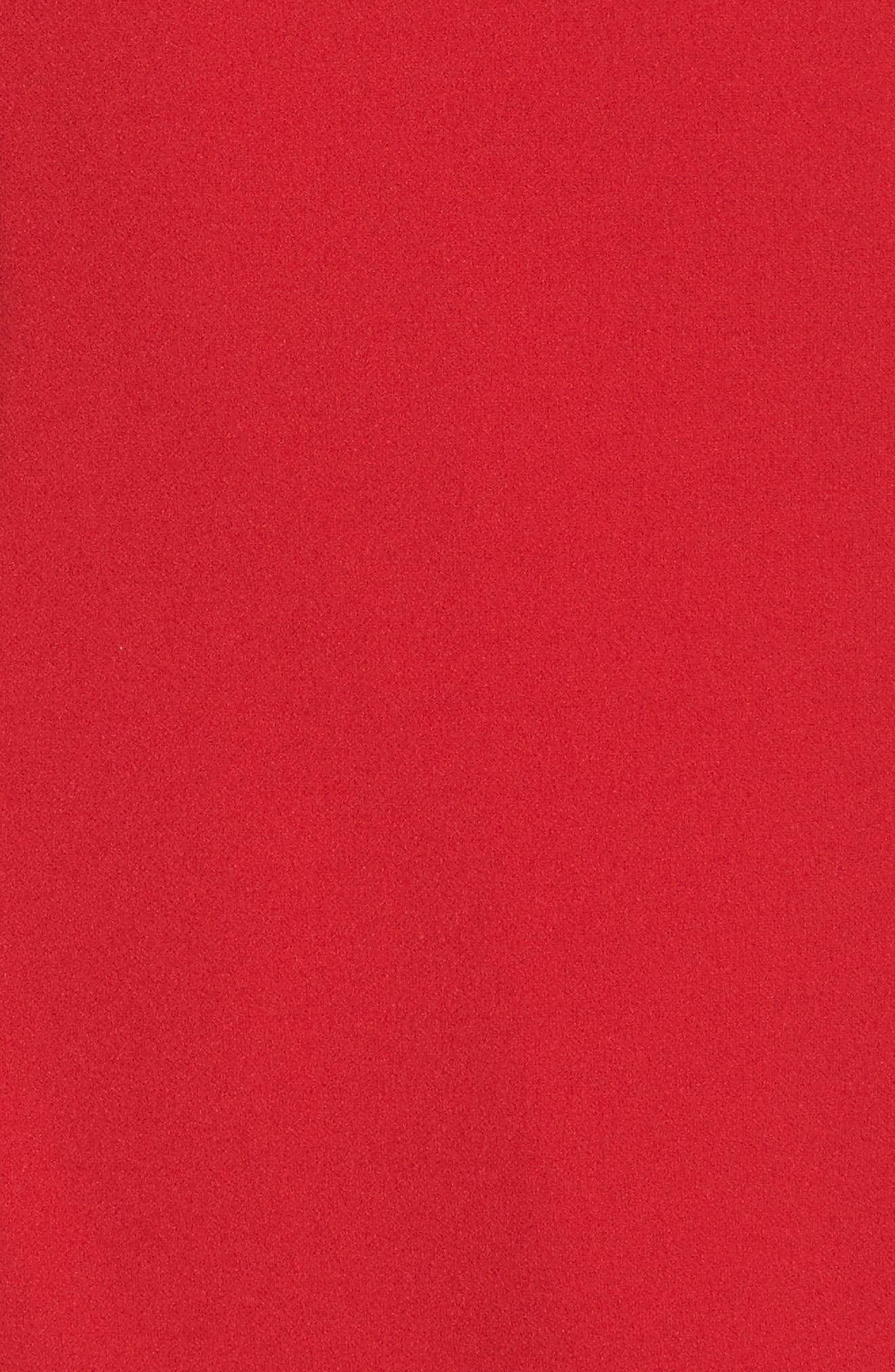 Ruffle Crepe Halter Dress,                             Alternate thumbnail 5, color,                             Red