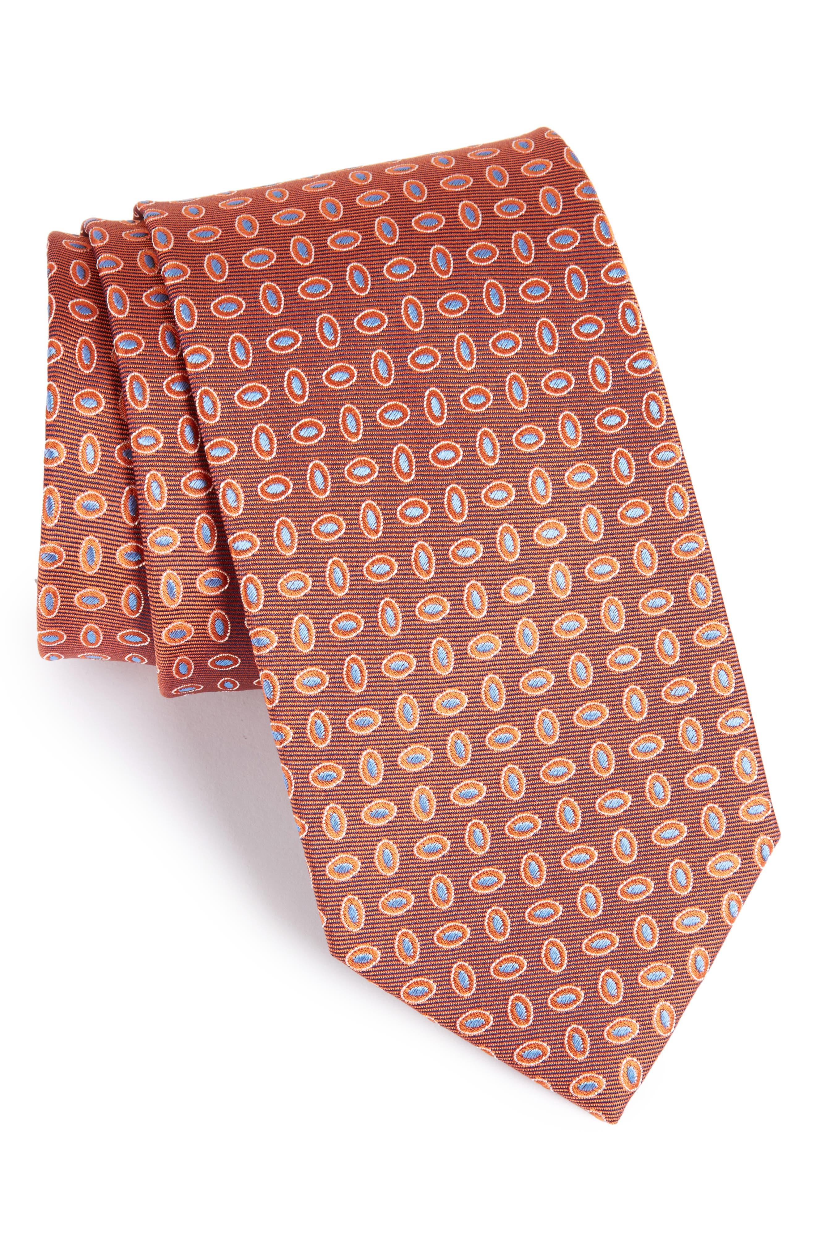 Geometric Silk Tie,                             Main thumbnail 1, color,                             Orange