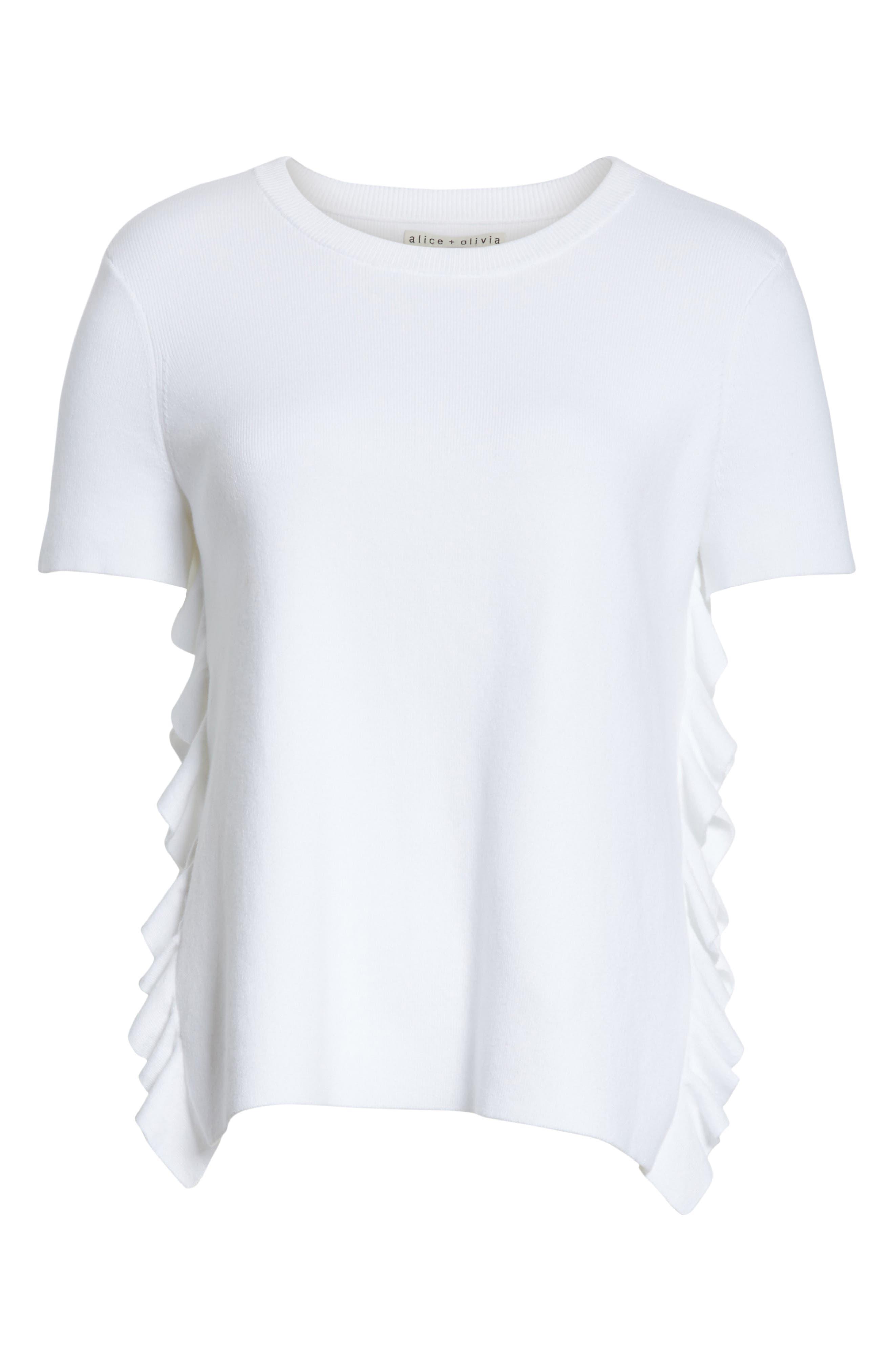 Ivan Ruffle Split Side Sweater,                             Alternate thumbnail 6, color,                             White