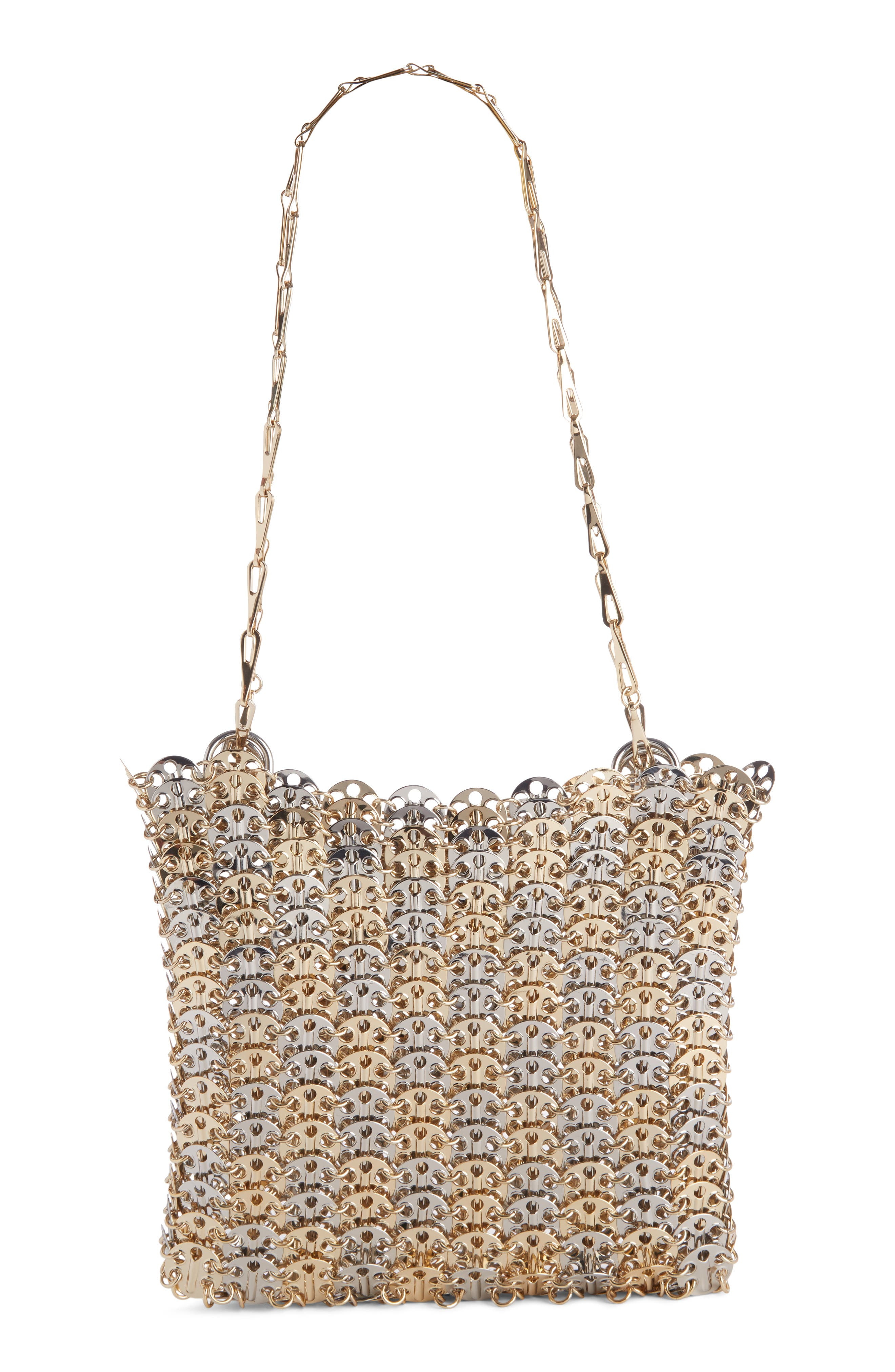 Leather Shoulder Bag,                         Main,                         color, Silver/ Gold