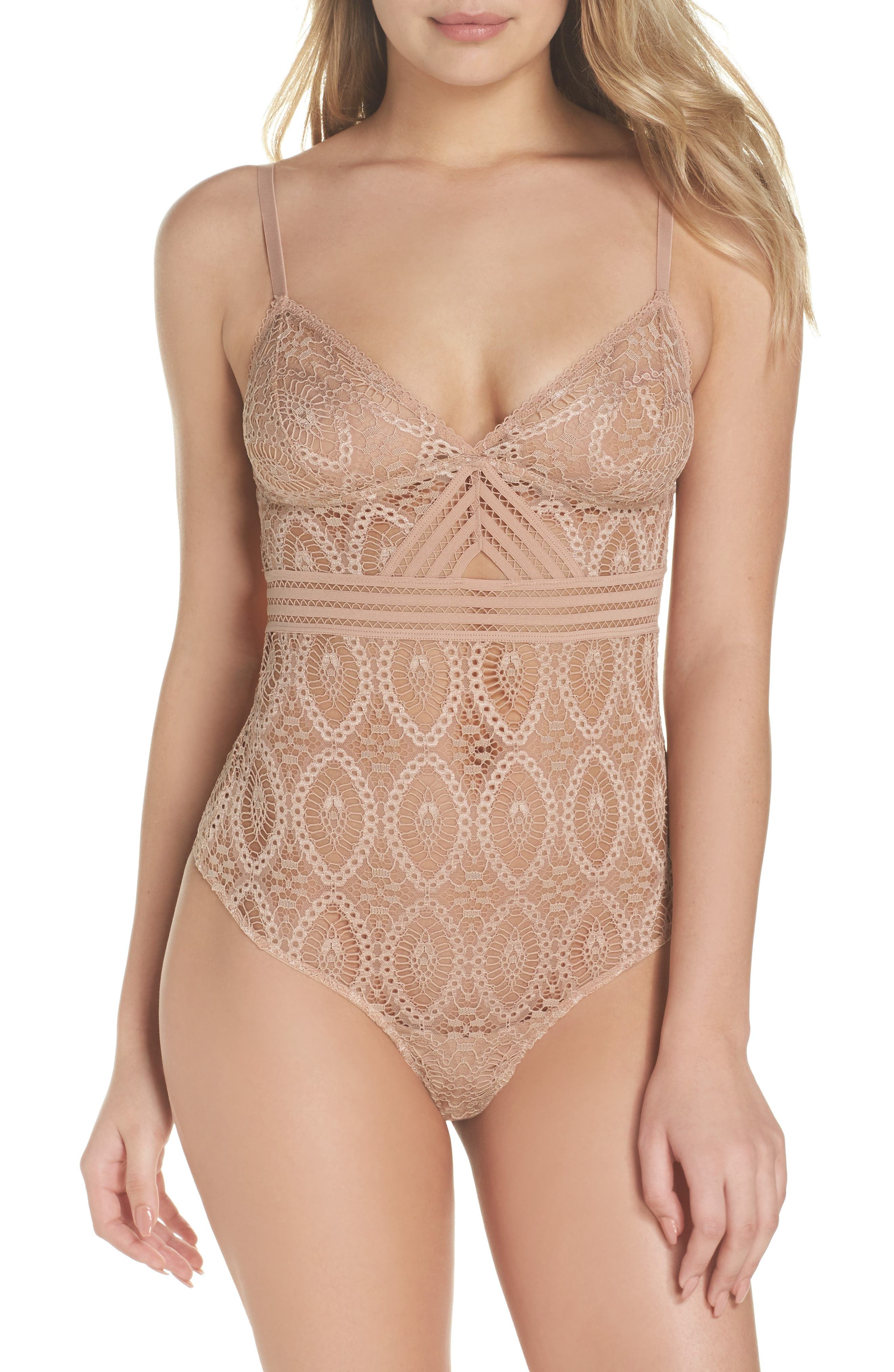 ELSE Baroque Lace Thong Bodysuit